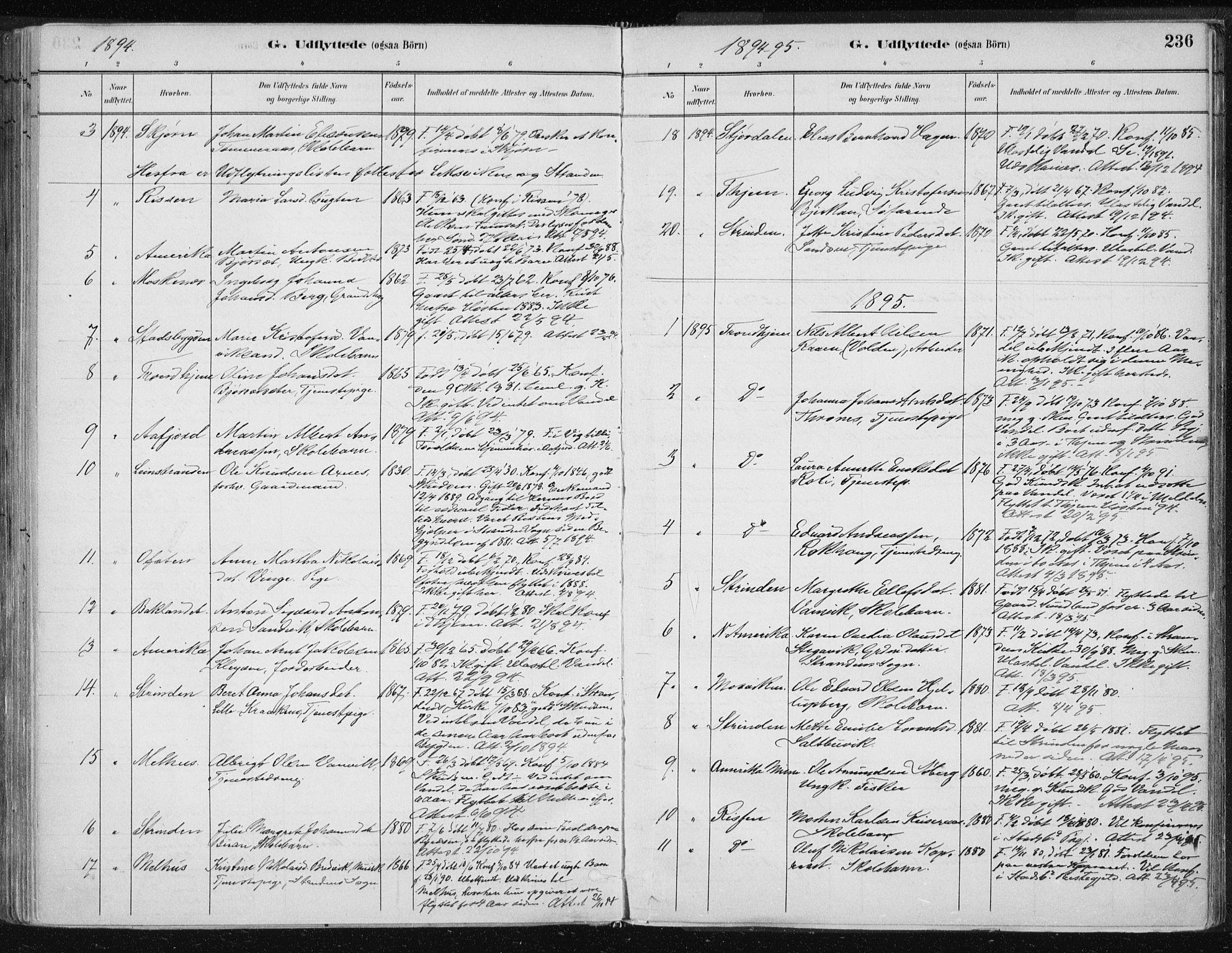 SAT, Ministerialprotokoller, klokkerbøker og fødselsregistre - Nord-Trøndelag, 701/L0010: Ministerialbok nr. 701A10, 1883-1899, s. 236