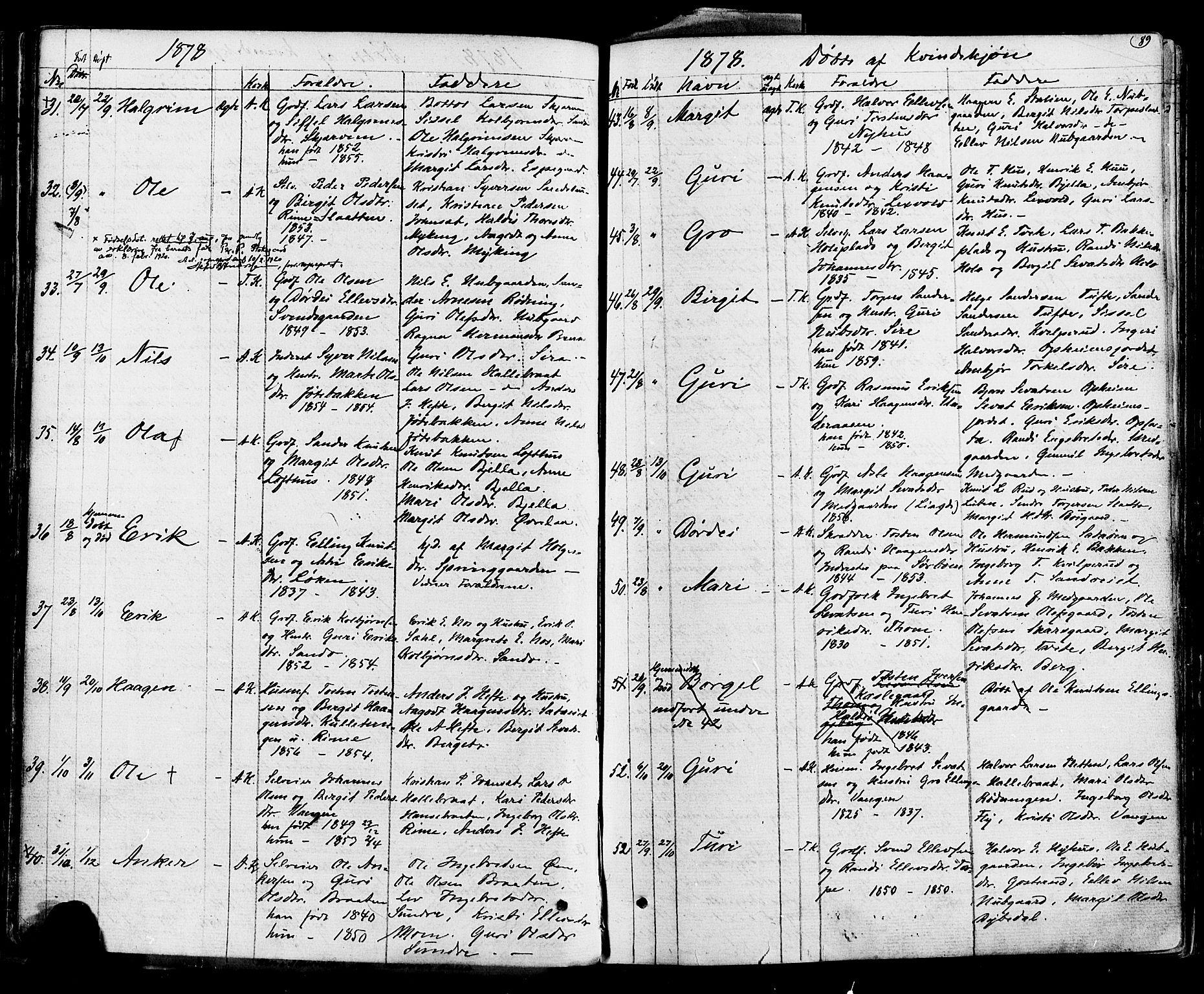 SAKO, Ål kirkebøker, F/Fa/L0007: Ministerialbok nr. I 7, 1865-1881, s. 89