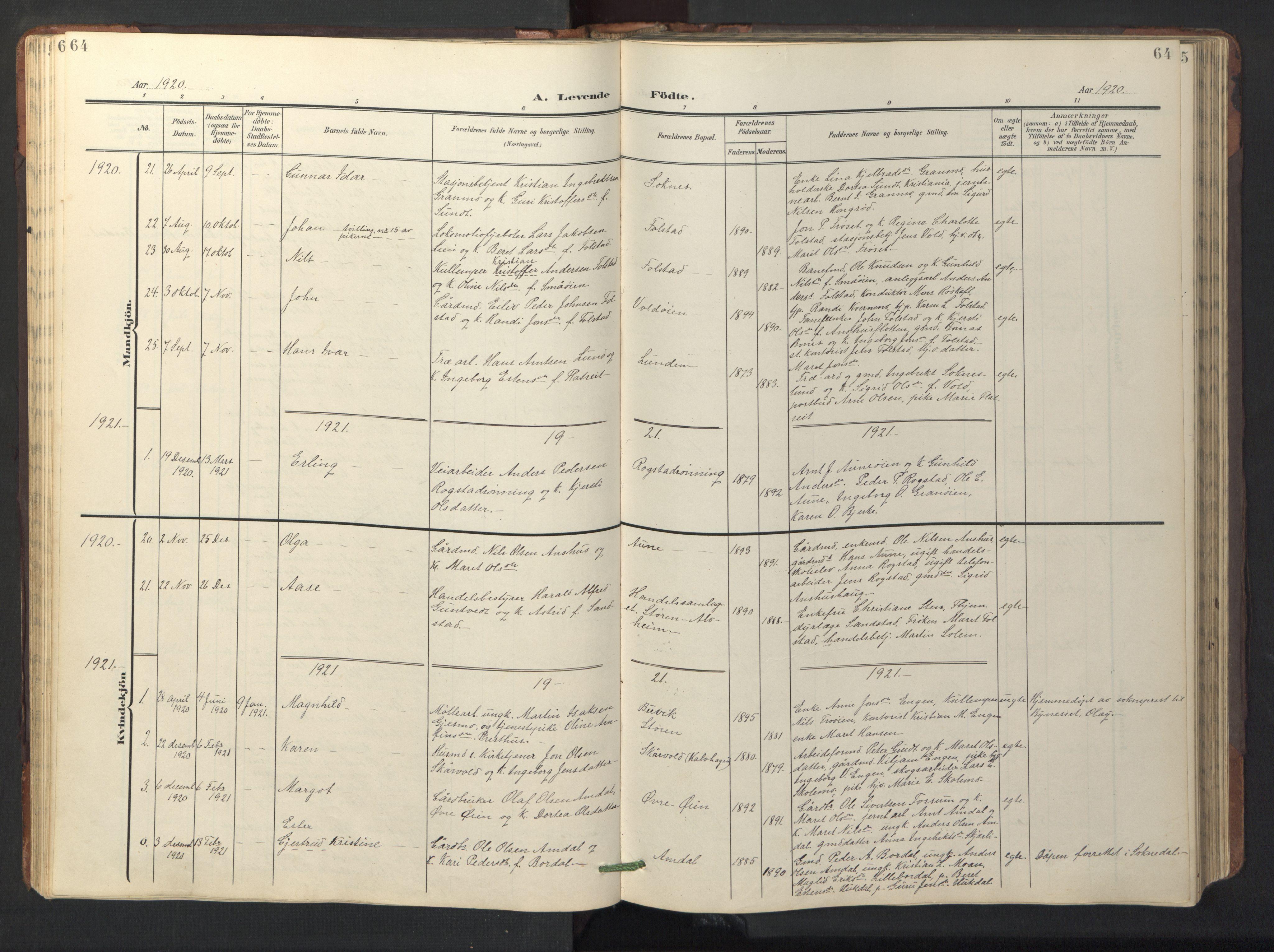 SAT, Ministerialprotokoller, klokkerbøker og fødselsregistre - Sør-Trøndelag, 687/L1019: Klokkerbok nr. 687C03, 1904-1931, s. 64