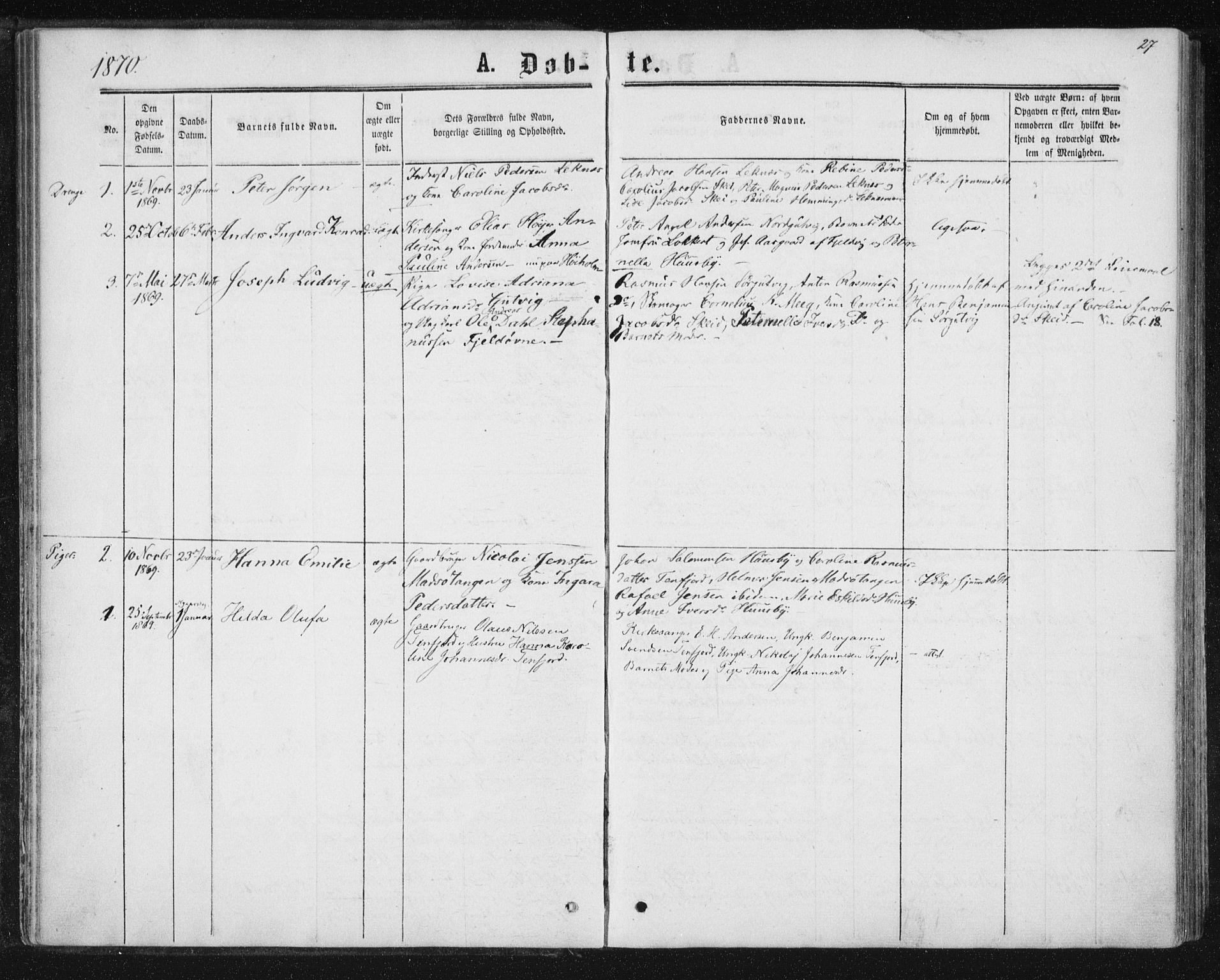 SAT, Ministerialprotokoller, klokkerbøker og fødselsregistre - Nord-Trøndelag, 788/L0696: Ministerialbok nr. 788A03, 1863-1877, s. 27