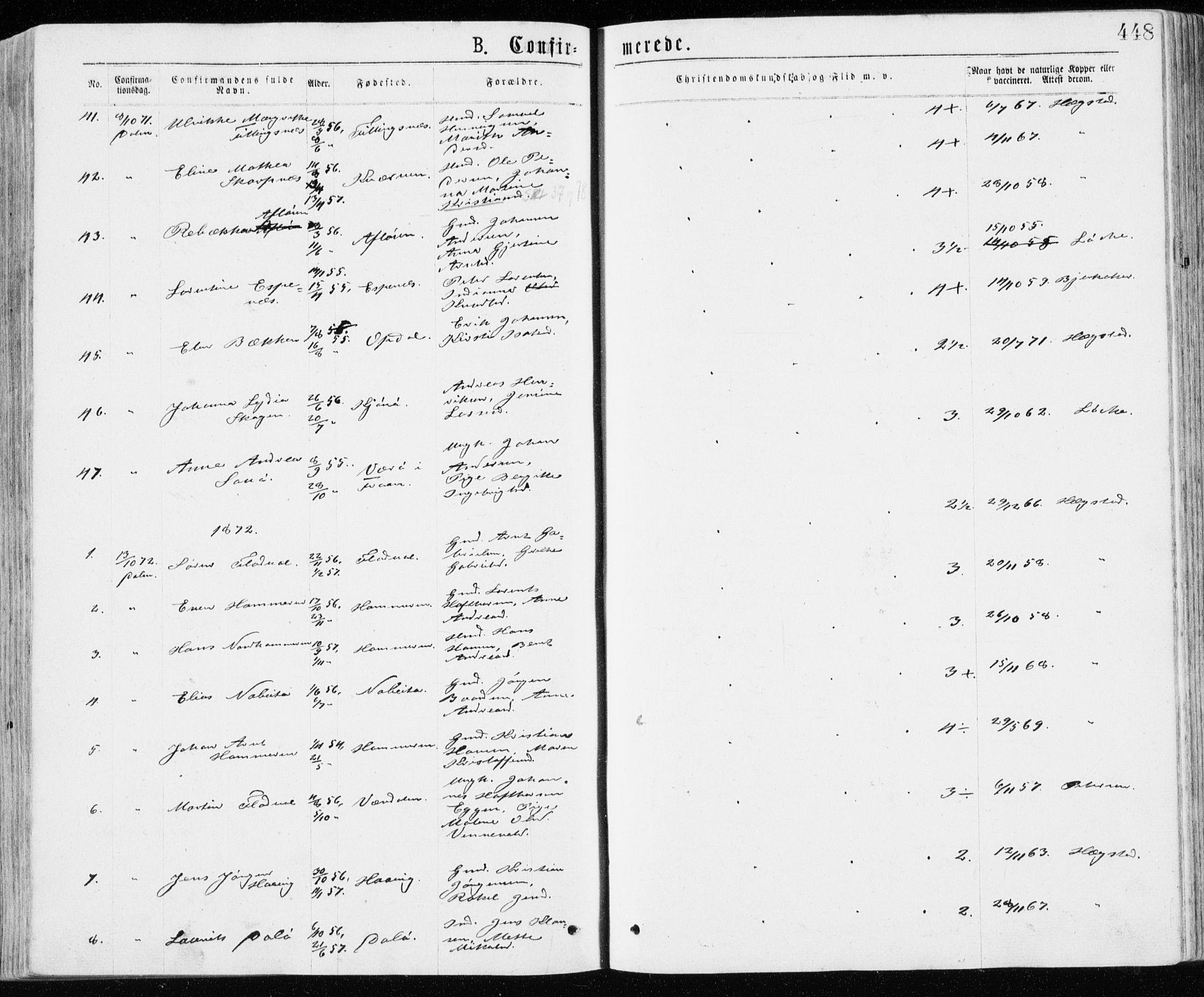 SAT, Ministerialprotokoller, klokkerbøker og fødselsregistre - Sør-Trøndelag, 640/L0576: Ministerialbok nr. 640A01, 1846-1876, s. 448