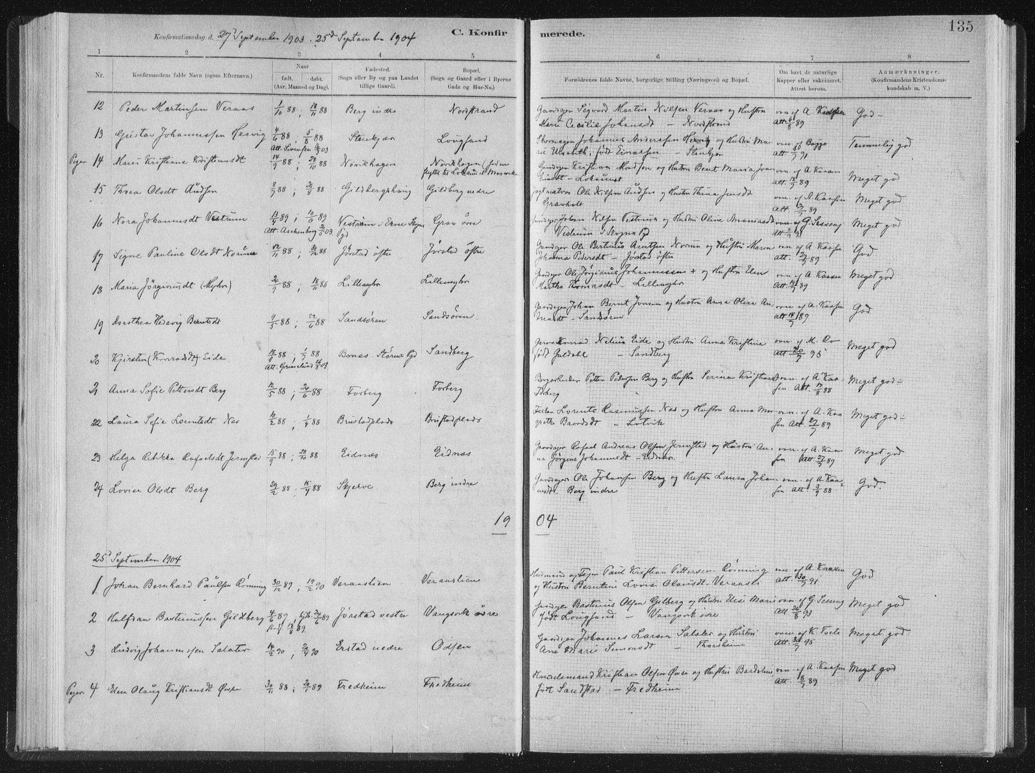SAT, Ministerialprotokoller, klokkerbøker og fødselsregistre - Nord-Trøndelag, 722/L0220: Ministerialbok nr. 722A07, 1881-1908, s. 135