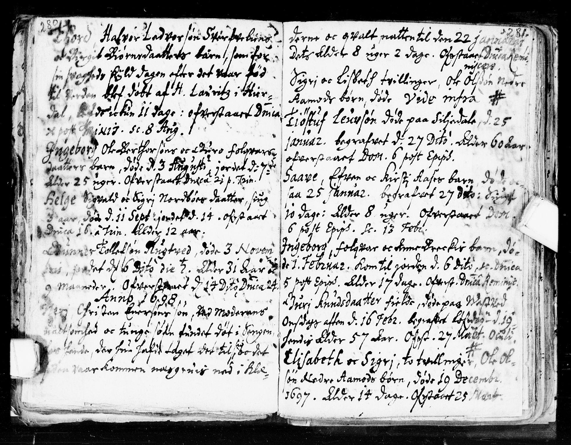 SAKO, Seljord kirkebøker, F/Fa/L0002: Ministerialbok nr. I 2, 1689-1713, s. 280-281