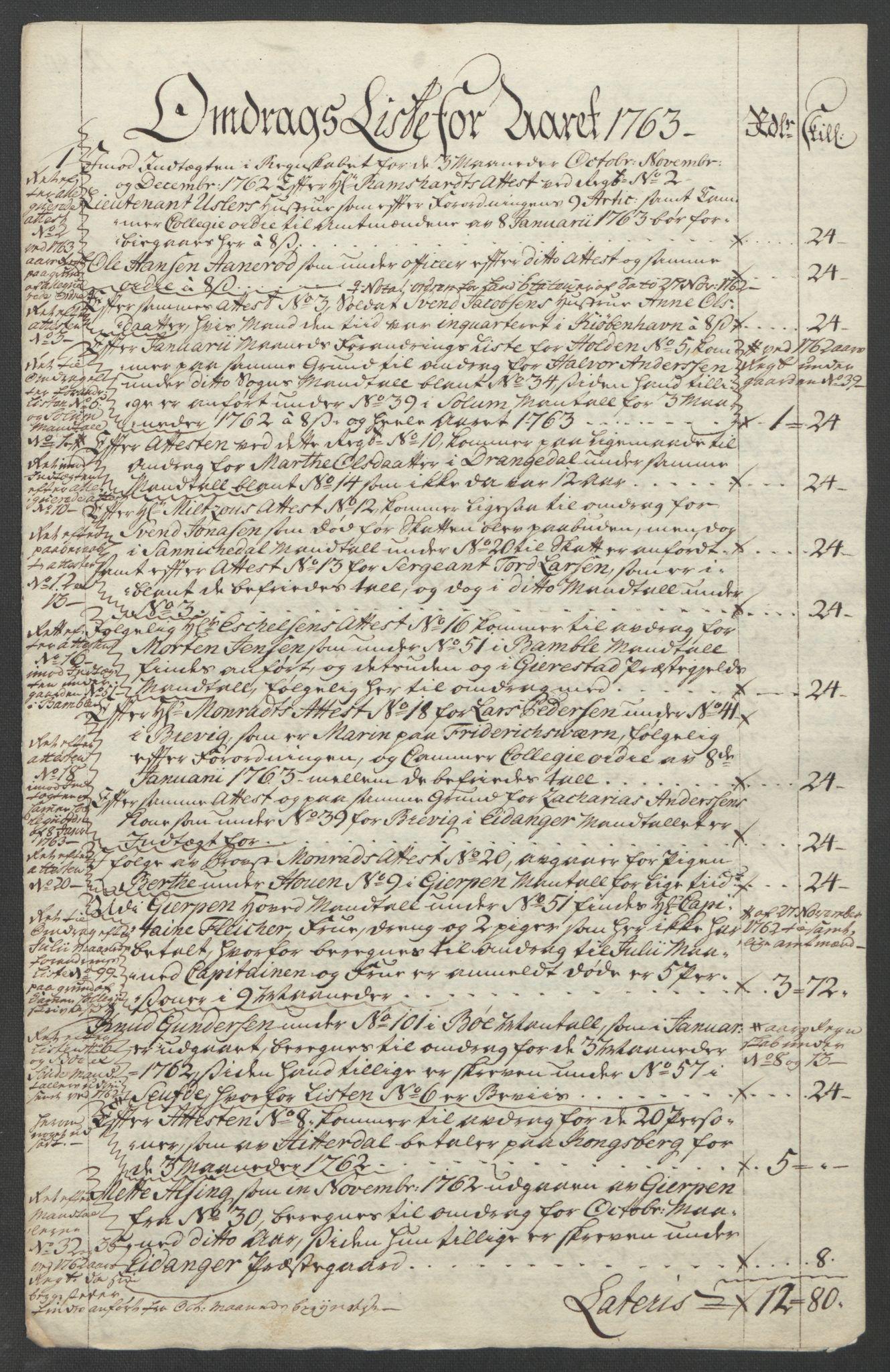 RA, Rentekammeret inntil 1814, Reviderte regnskaper, Fogderegnskap, R37/L2239: Ekstraskatten Nedre Telemark og Bamble, 1762-1763, s. 761