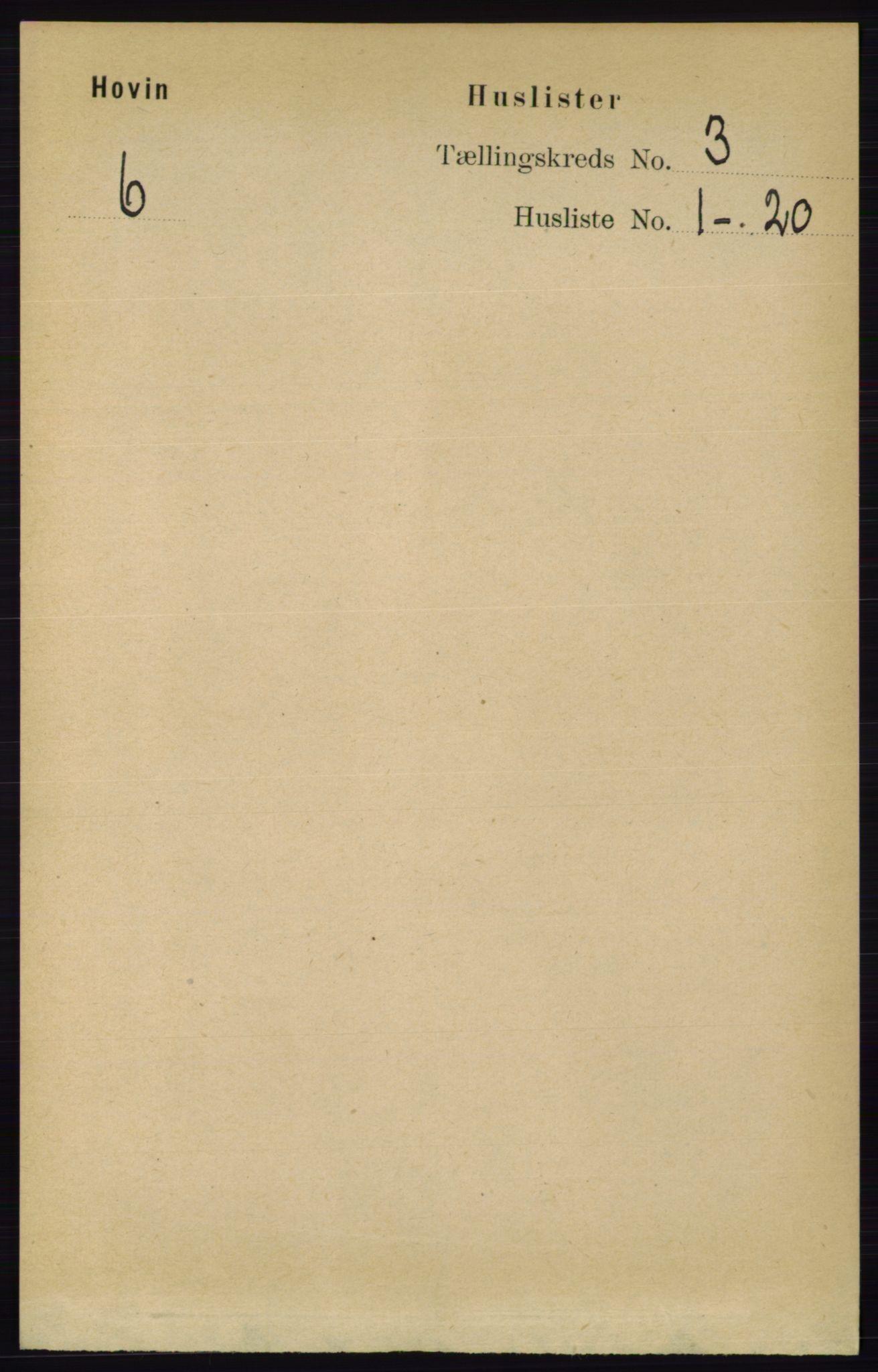 RA, Folketelling 1891 for 0825 Hovin herred, 1891, s. 634