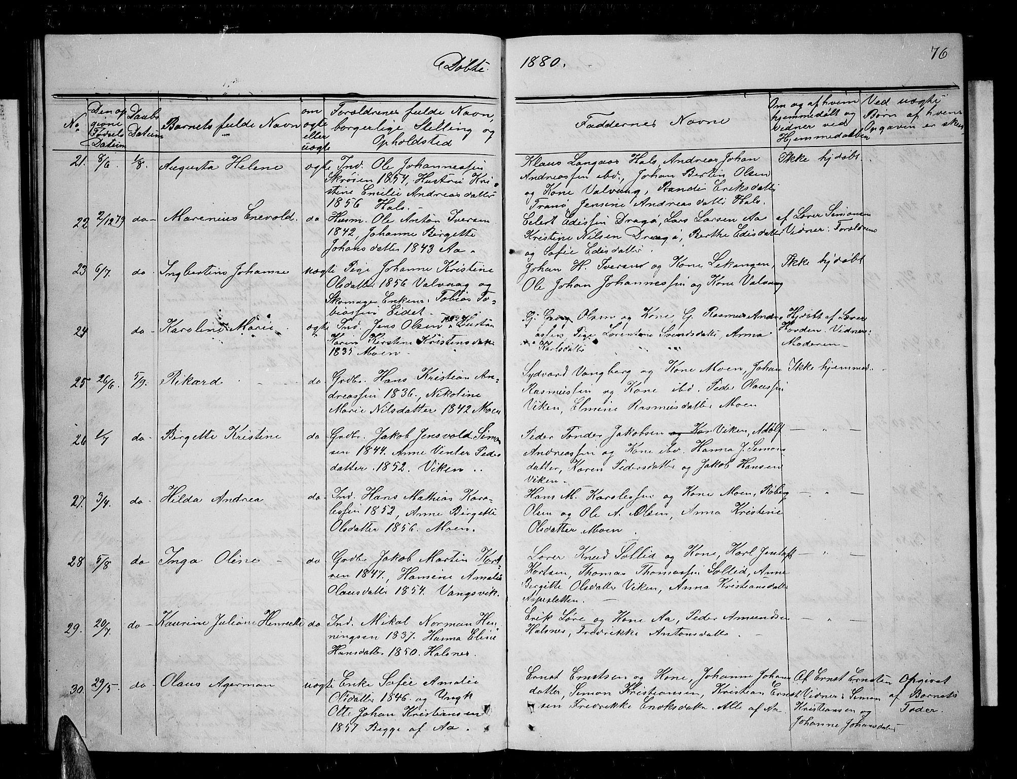 SATØ, Tranøy sokneprestkontor, I/Ia/Iab/L0003klokker: Klokkerbok nr. 3, 1861-1887, s. 76