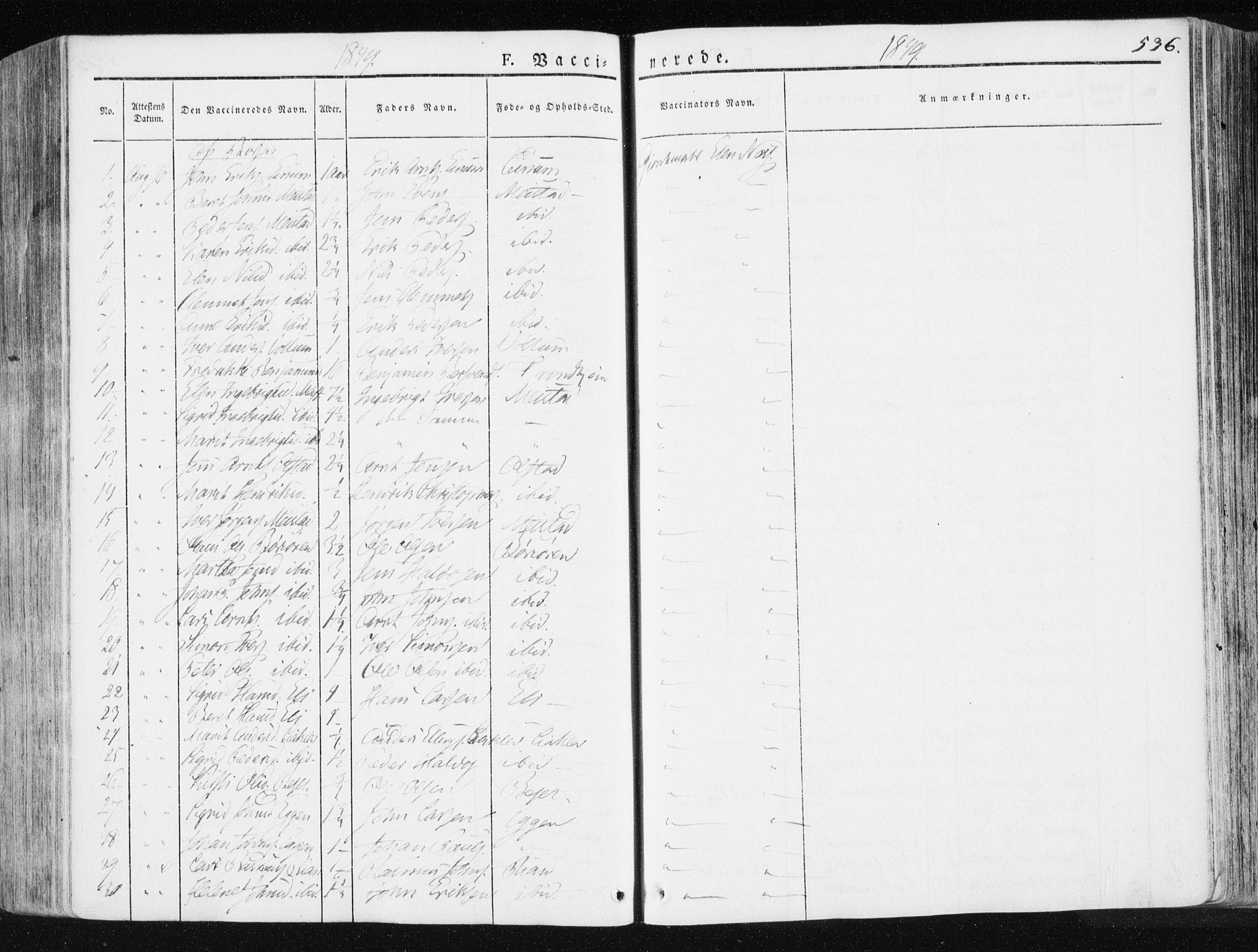 SAT, Ministerialprotokoller, klokkerbøker og fødselsregistre - Sør-Trøndelag, 665/L0771: Ministerialbok nr. 665A06, 1830-1856, s. 536