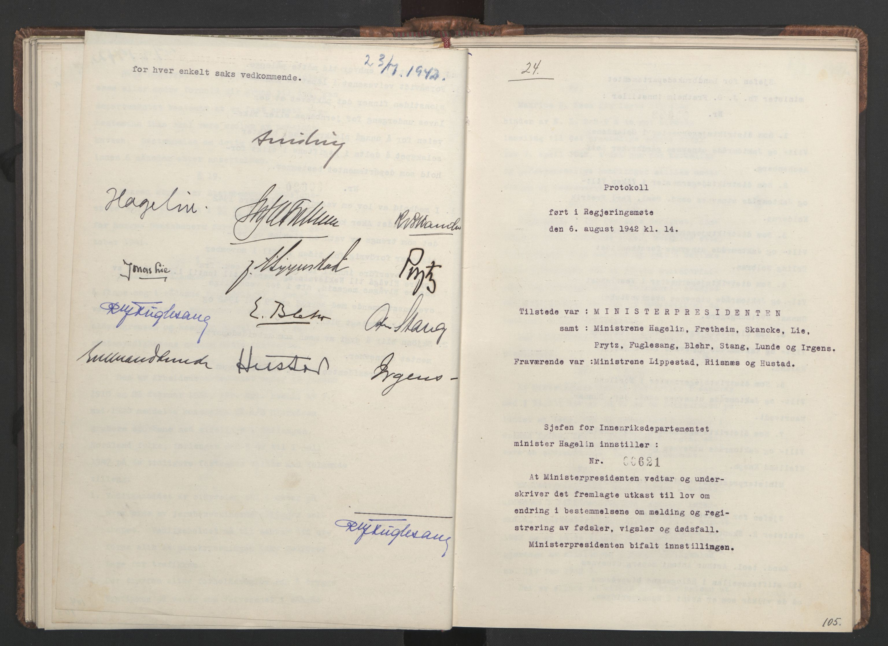 RA, NS-administrasjonen 1940-1945 (Statsrådsekretariatet, de kommisariske statsråder mm), D/Da/L0001: Beslutninger og tillegg (1-952 og 1-32), 1942, s. 104b-105a