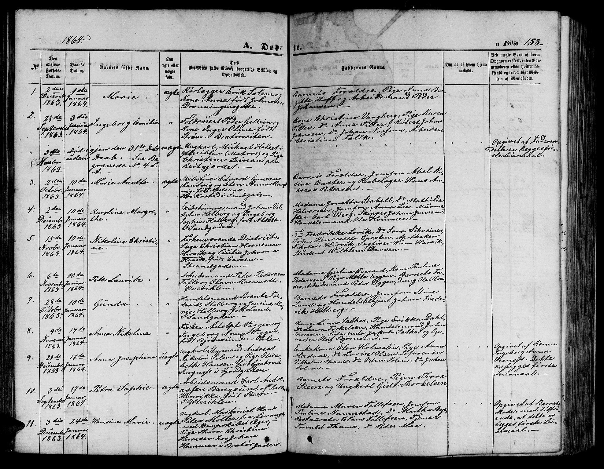 SAT, Ministerialprotokoller, klokkerbøker og fødselsregistre - Sør-Trøndelag, 602/L0139: Klokkerbok nr. 602C07, 1859-1864, s. 153
