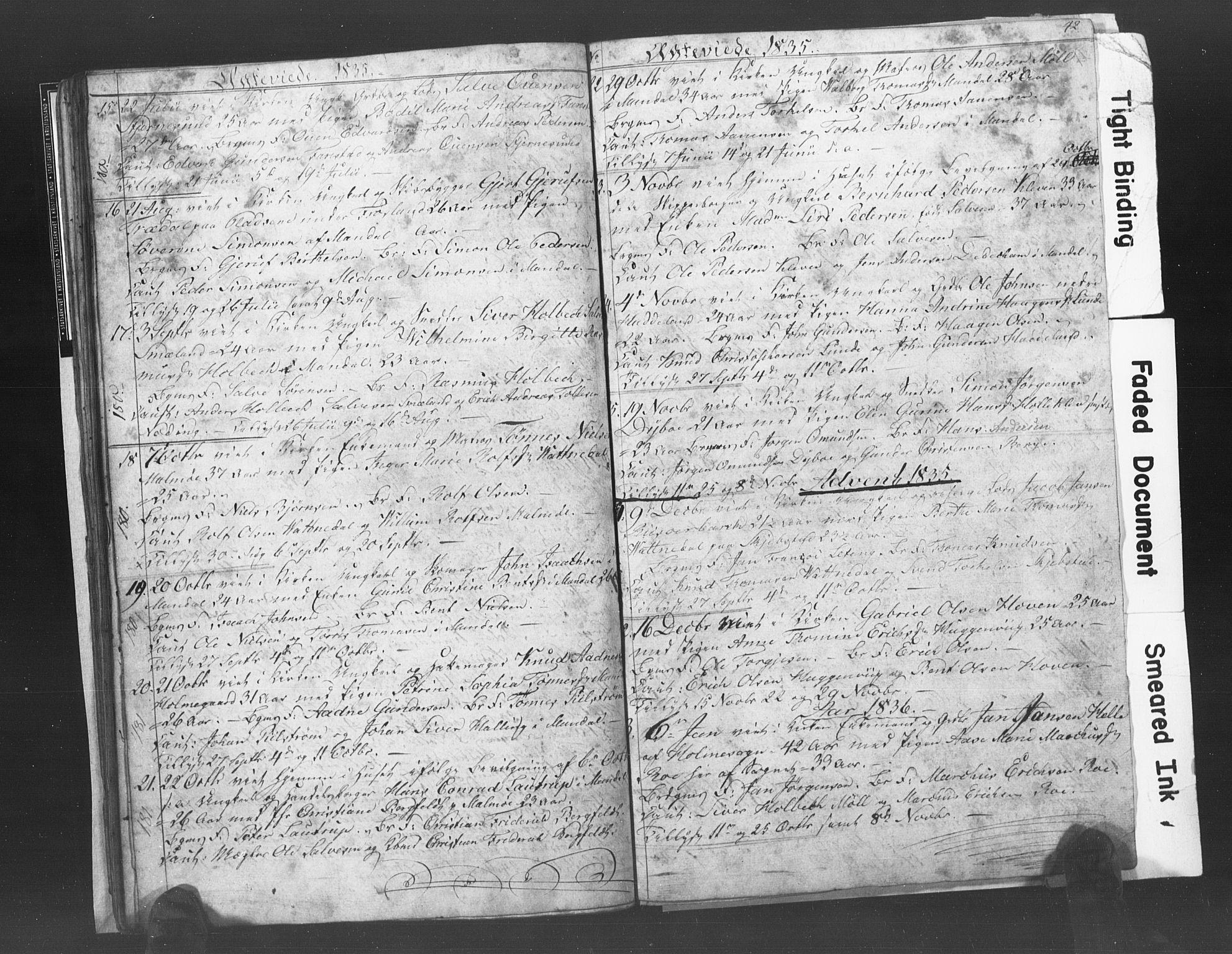 SAK, Mandal sokneprestkontor, F/Fb/Fba/L0003: Klokkerbok nr. B 1C, 1834-1838, s. 42