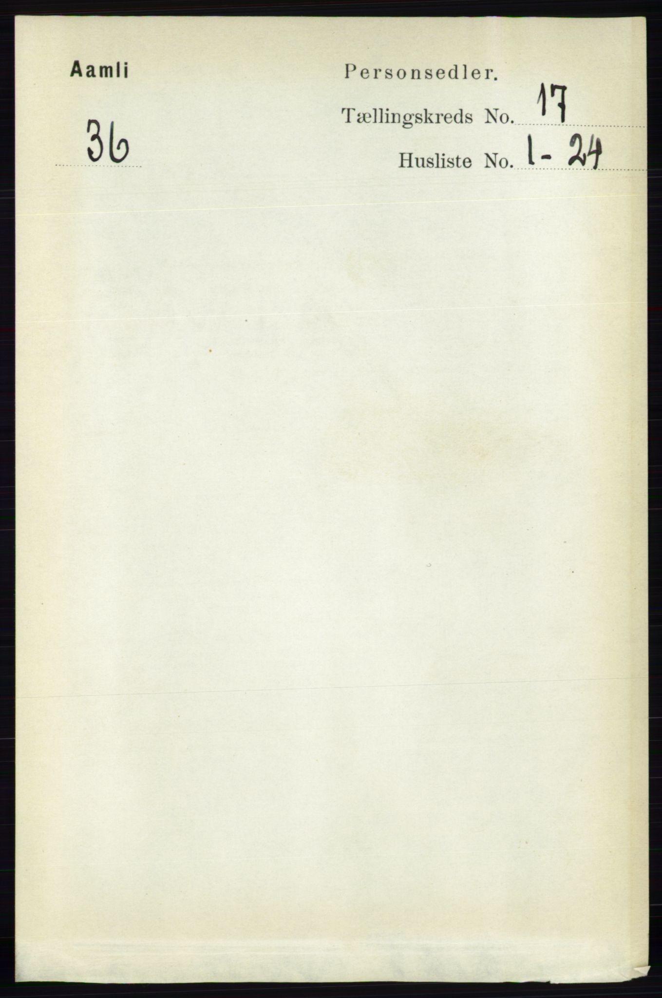 RA, Folketelling 1891 for 0929 Åmli herred, 1891, s. 2804