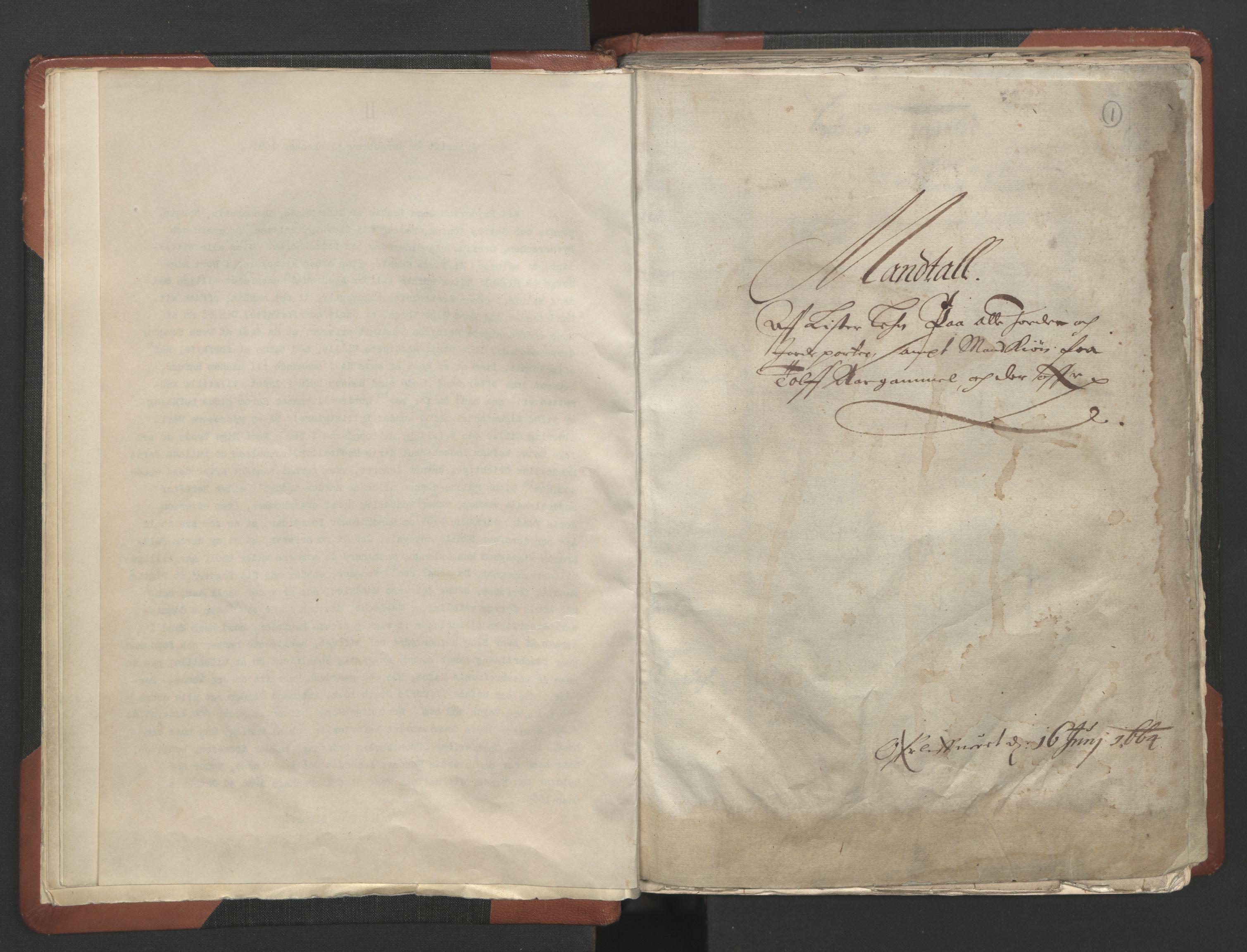 RA, Fogdenes og sorenskrivernes manntall 1664-1666, nr. 10: Lista len, 1664, s. 1