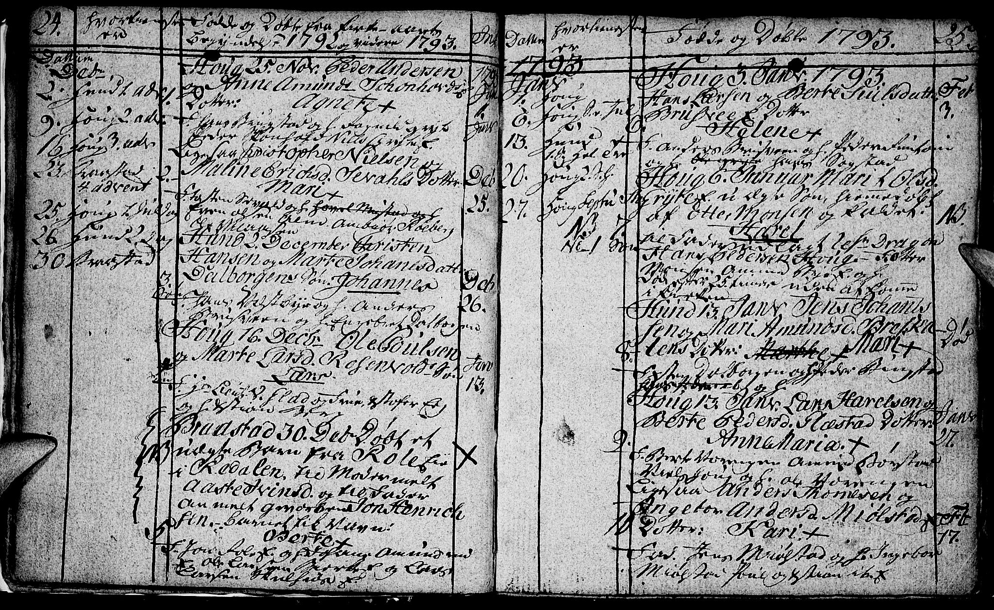 SAH, Vardal prestekontor, H/Ha/Hab/L0002: Klokkerbok nr. 2, 1790-1803, s. 24-25