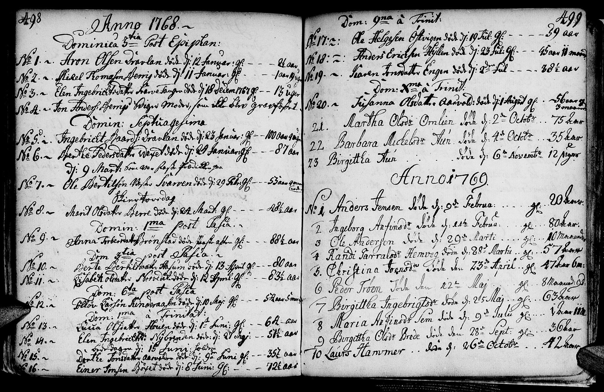 SAT, Ministerialprotokoller, klokkerbøker og fødselsregistre - Nord-Trøndelag, 749/L0467: Ministerialbok nr. 749A01, 1733-1787, s. 498-499