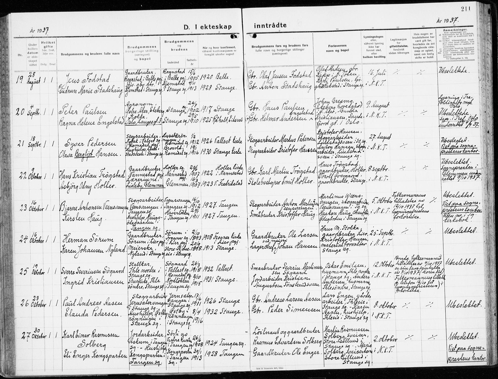 SAH, Stange prestekontor, K/L0027: Ministerialbok nr. 27, 1937-1947, s. 211