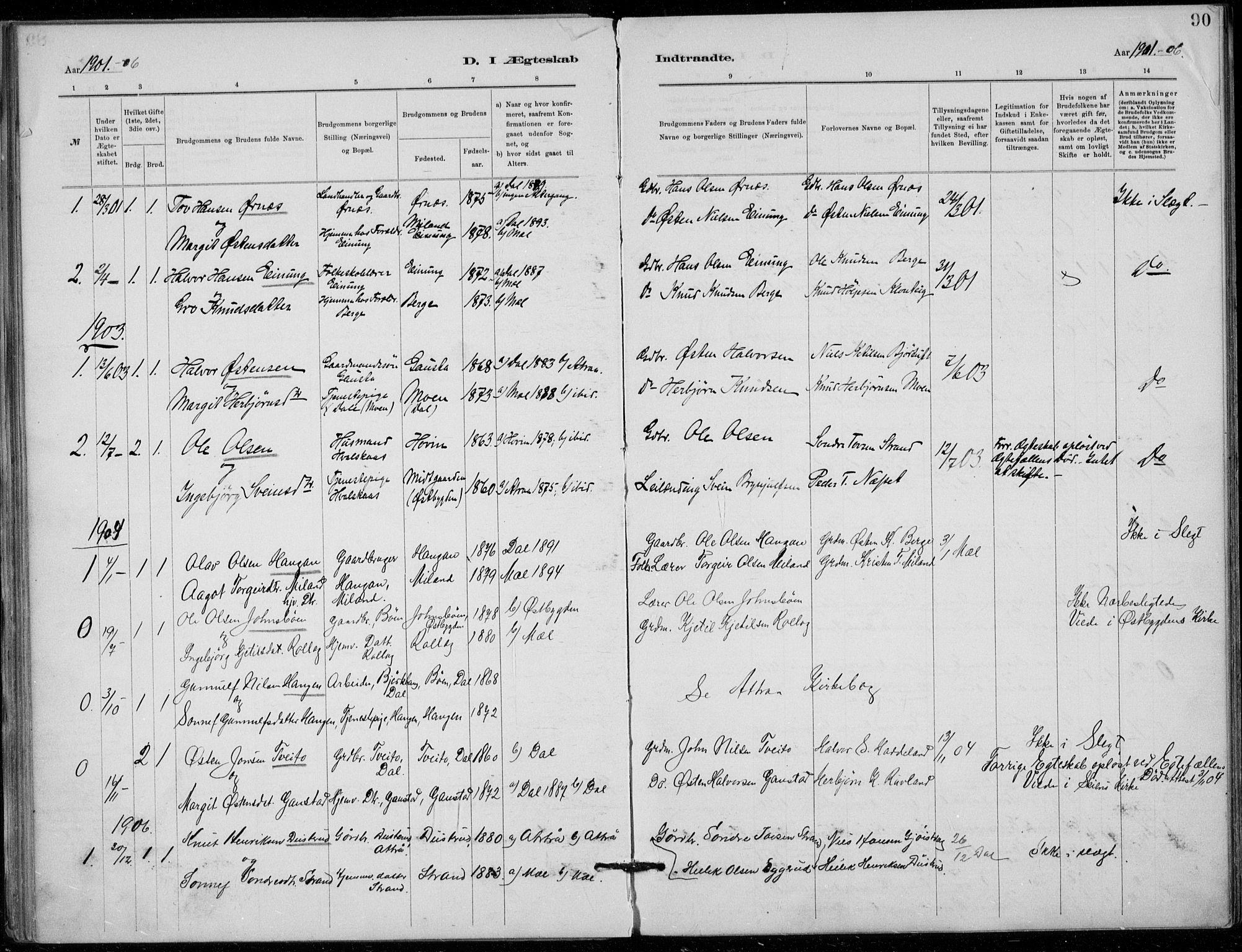 SAKO, Tinn kirkebøker, F/Fb/L0002: Ministerialbok nr. II 2, 1878-1917, s. 90