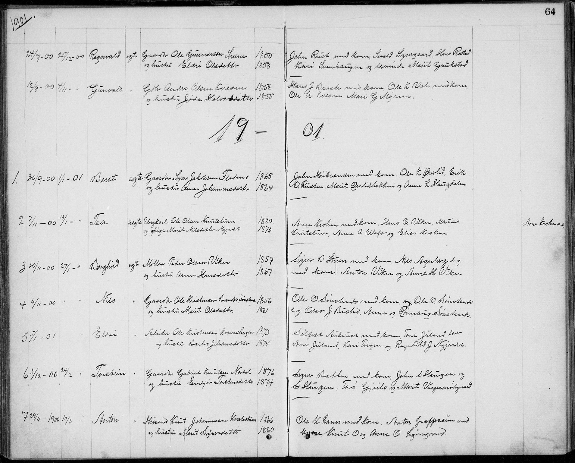 SAH, Lom prestekontor, L/L0013: Klokkerbok nr. 13, 1874-1938, s. 64