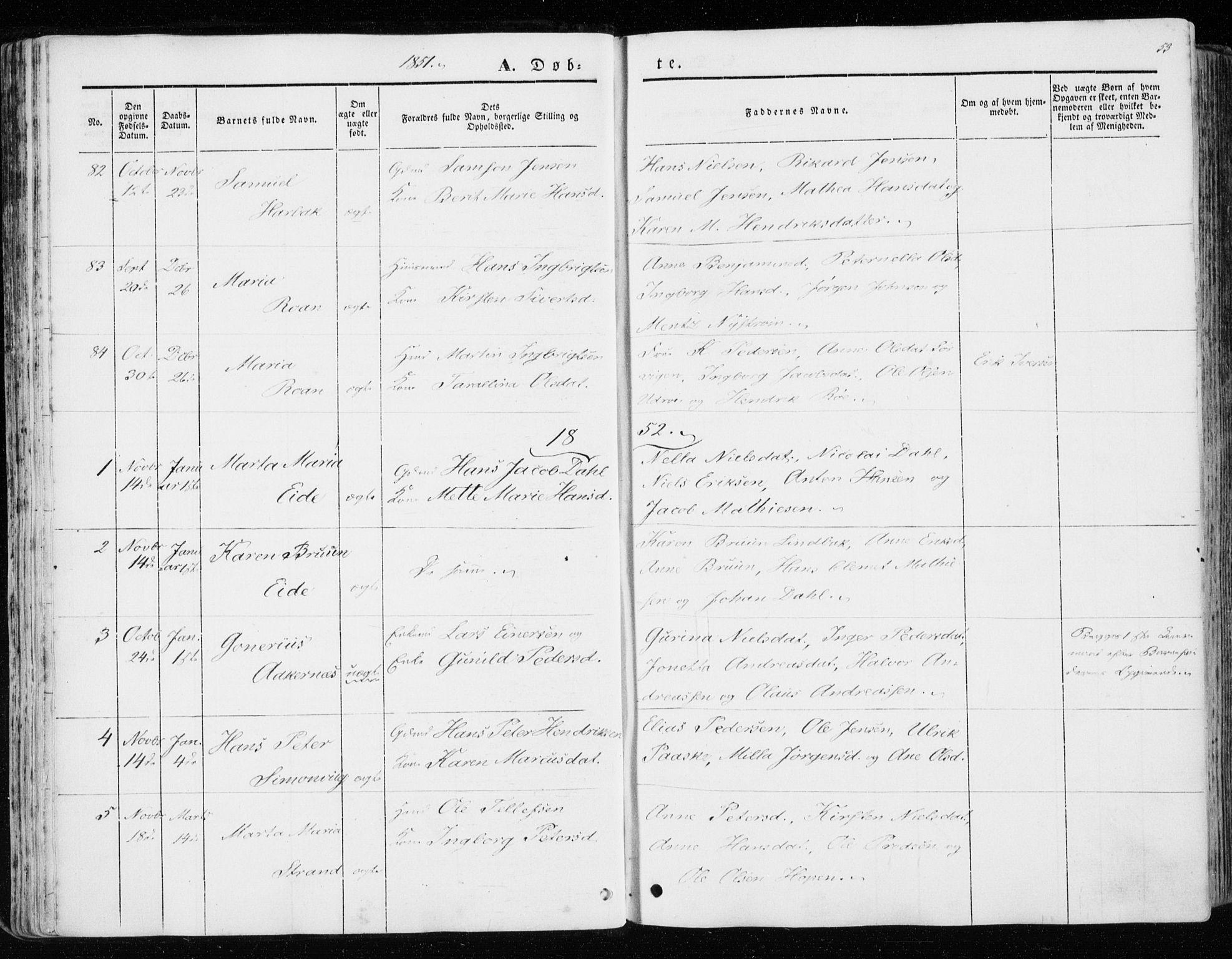 SAT, Ministerialprotokoller, klokkerbøker og fødselsregistre - Sør-Trøndelag, 657/L0704: Ministerialbok nr. 657A05, 1846-1857, s. 53