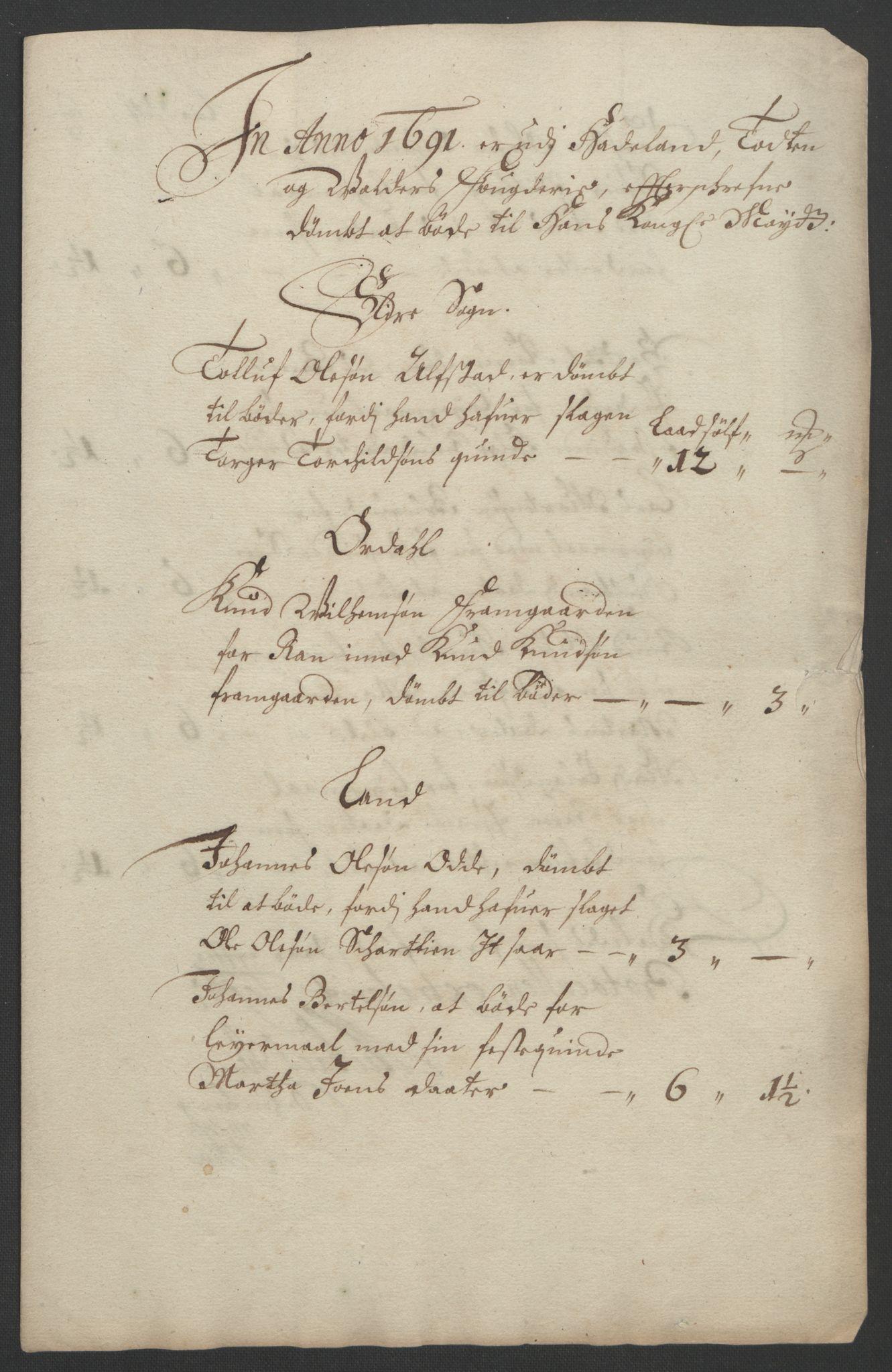 RA, Rentekammeret inntil 1814, Reviderte regnskaper, Fogderegnskap, R18/L1290: Fogderegnskap Hadeland, Toten og Valdres, 1691, s. 61