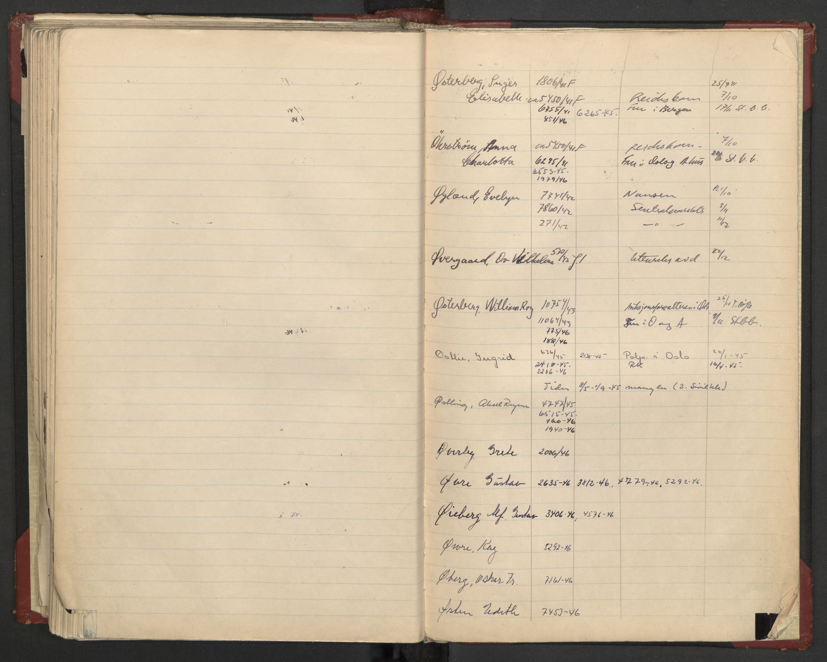 RA, Justisdepartementet, 3. politikontor P3, C/Cc/L0002: Journalregister over statsborgersaker, 1940-1946, s. 113