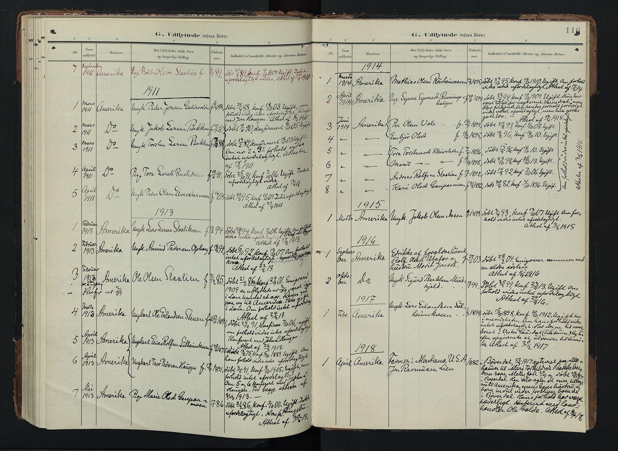 SAH, Lom prestekontor, K/L0012: Ministerialbok nr. 12, 1904-1928, s. 116