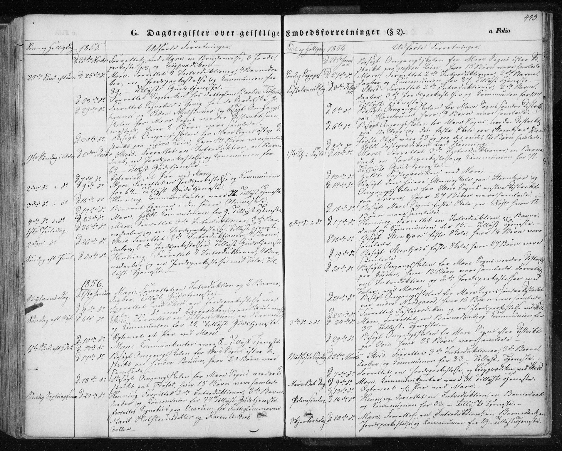 SAT, Ministerialprotokoller, klokkerbøker og fødselsregistre - Nord-Trøndelag, 735/L0342: Ministerialbok nr. 735A07 /1, 1849-1862, s. 443
