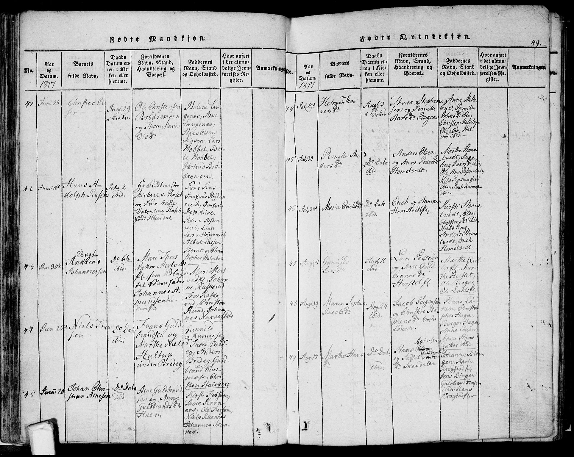 SAO, Eidsberg prestekontor Kirkebøker, F/Fa/L0007: Ministerialbok nr. I 7, 1814-1832, s. 49