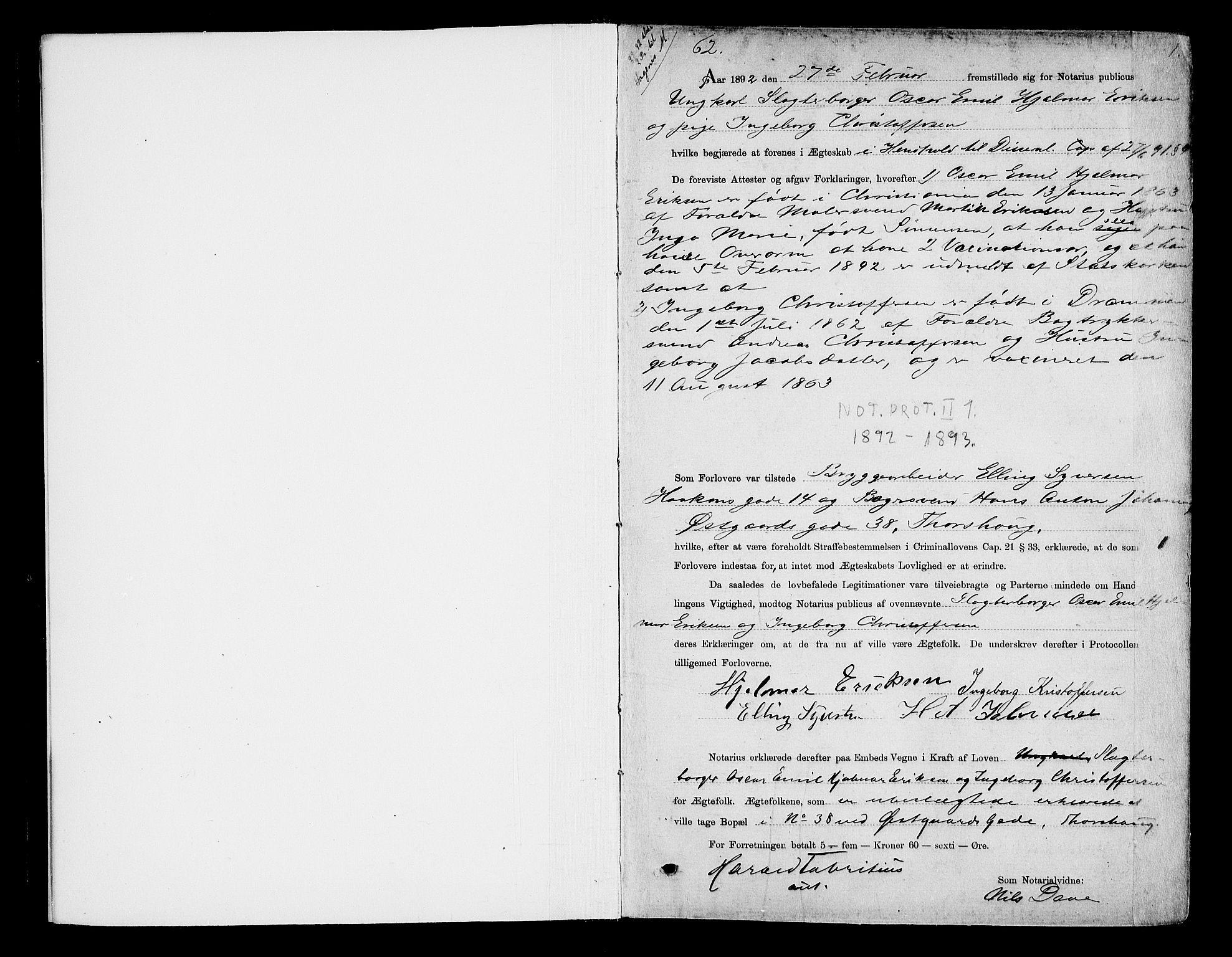 SAO, Oslo byfogd avd. I, L/Lb/Lbb/L0001: Notarialprotokoll, rekke II: Vigsler, 1892-1893, s. 1a