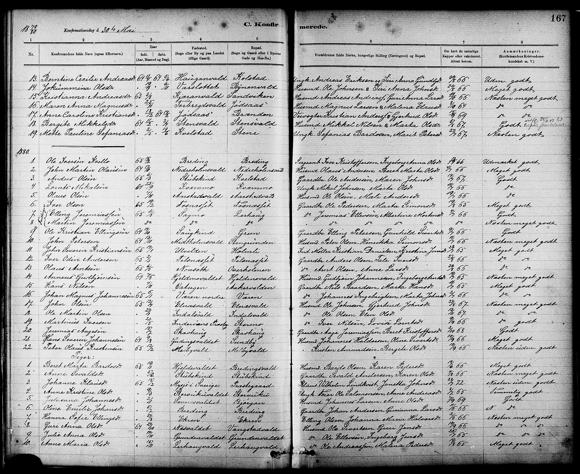 SAT, Ministerialprotokoller, klokkerbøker og fødselsregistre - Nord-Trøndelag, 724/L0267: Klokkerbok nr. 724C03, 1879-1898, s. 167