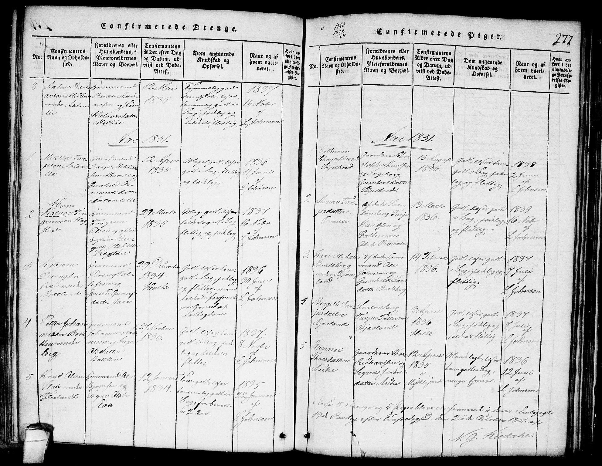 SAKO, Lårdal kirkebøker, G/Ga/L0001: Klokkerbok nr. I 1, 1815-1861, s. 277