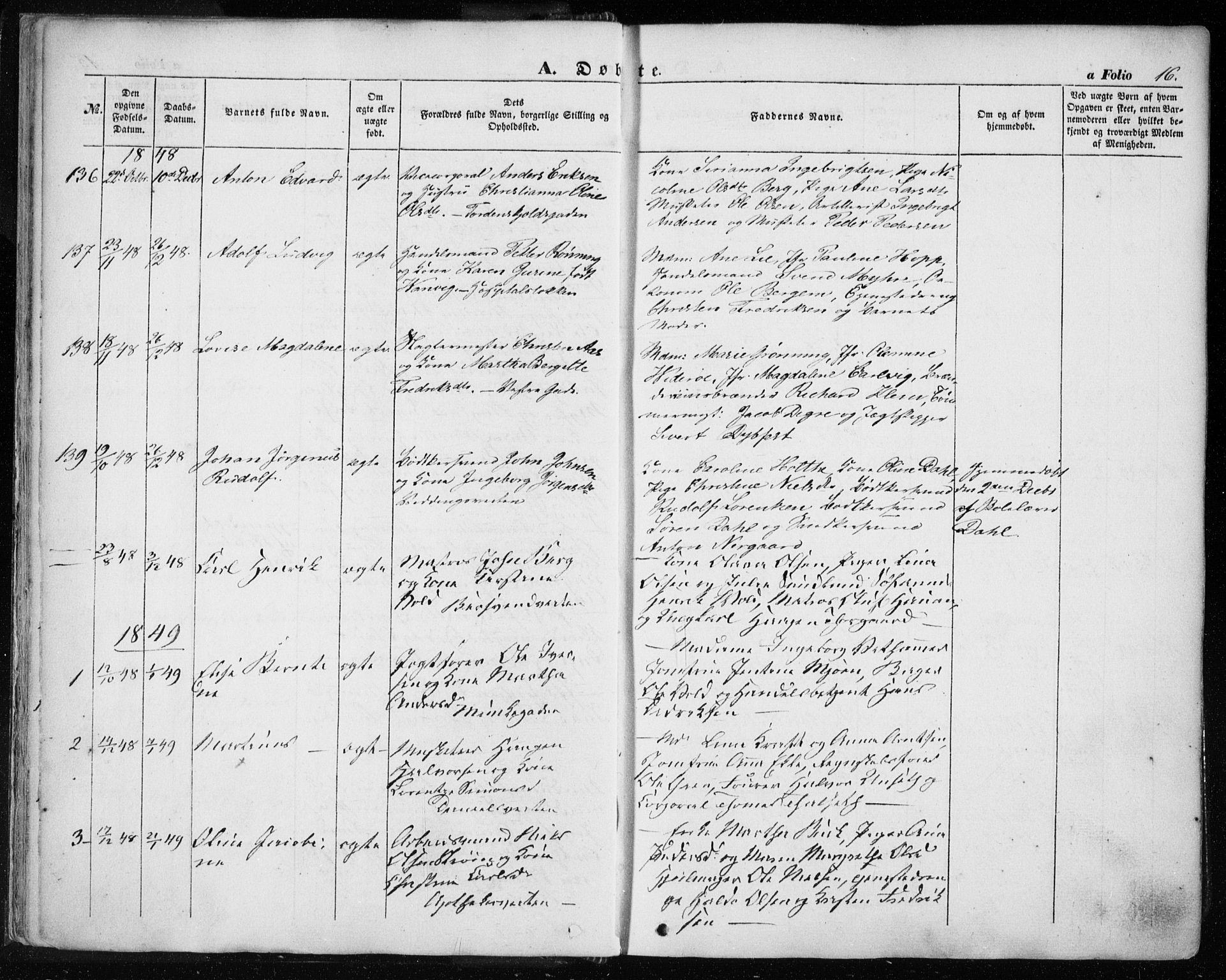 SAT, Ministerialprotokoller, klokkerbøker og fødselsregistre - Sør-Trøndelag, 601/L0051: Ministerialbok nr. 601A19, 1848-1857, s. 16