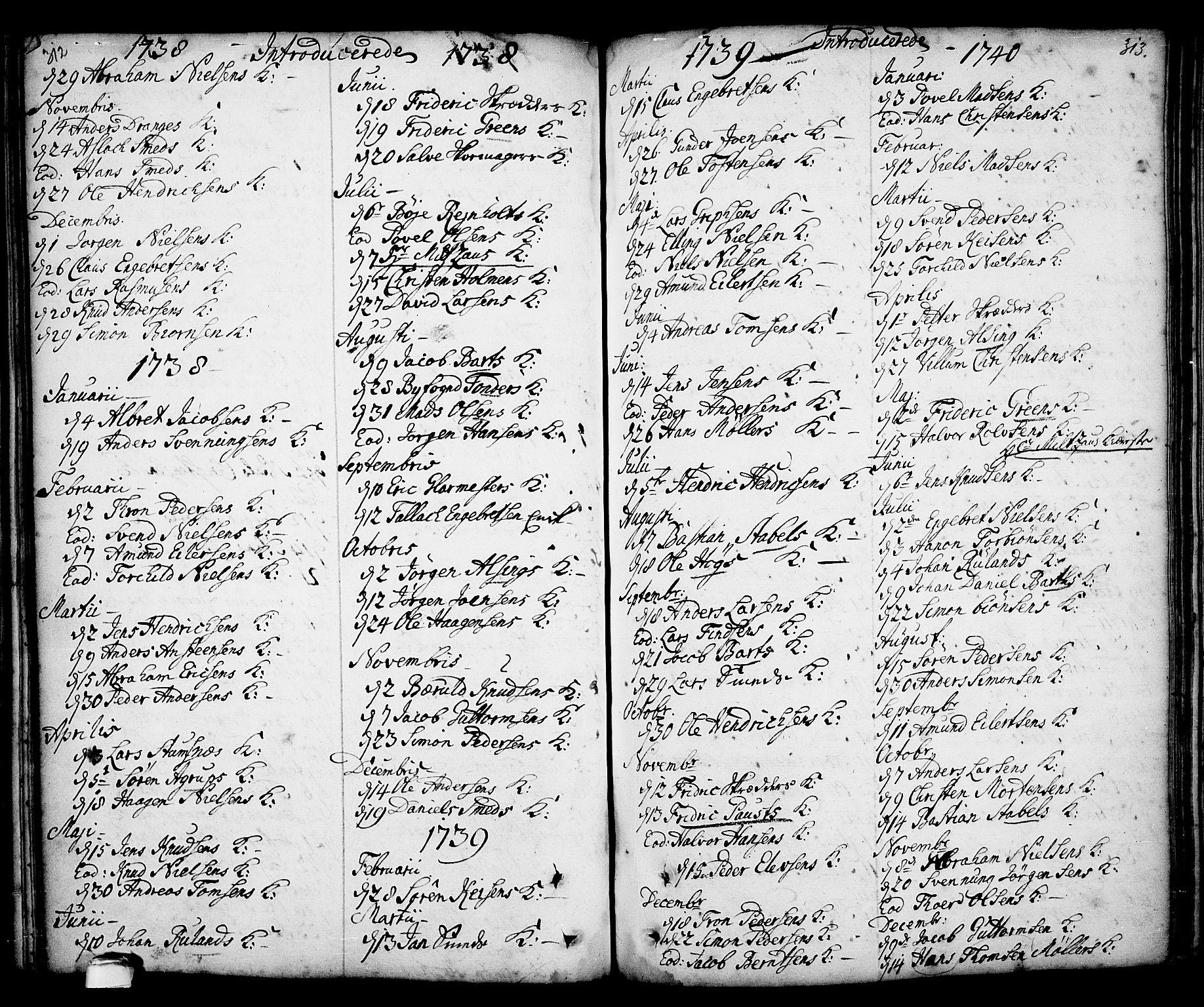 SAKO, Kragerø kirkebøker, F/Fa/L0001: Ministerialbok nr. 1, 1702-1766, s. 312-313