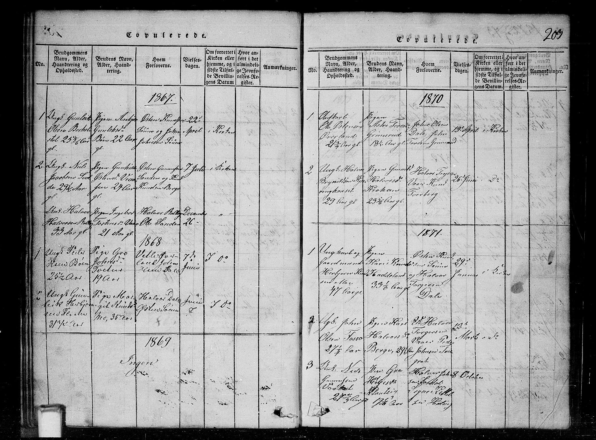 SAKO, Tinn kirkebøker, G/Gc/L0001: Klokkerbok nr. III 1, 1815-1879, s. 203