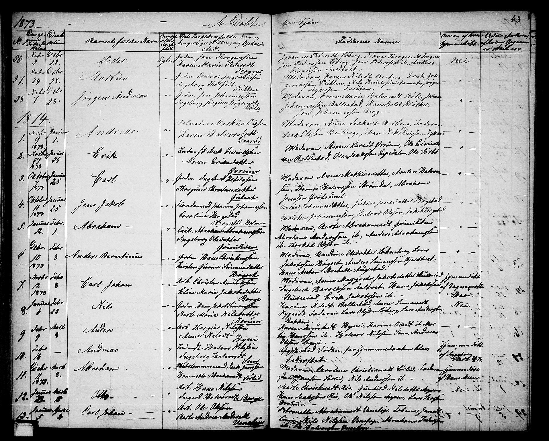 SAKO, Gjerpen kirkebøker, G/Ga/L0001: Klokkerbok nr. I 1, 1864-1882, s. 43