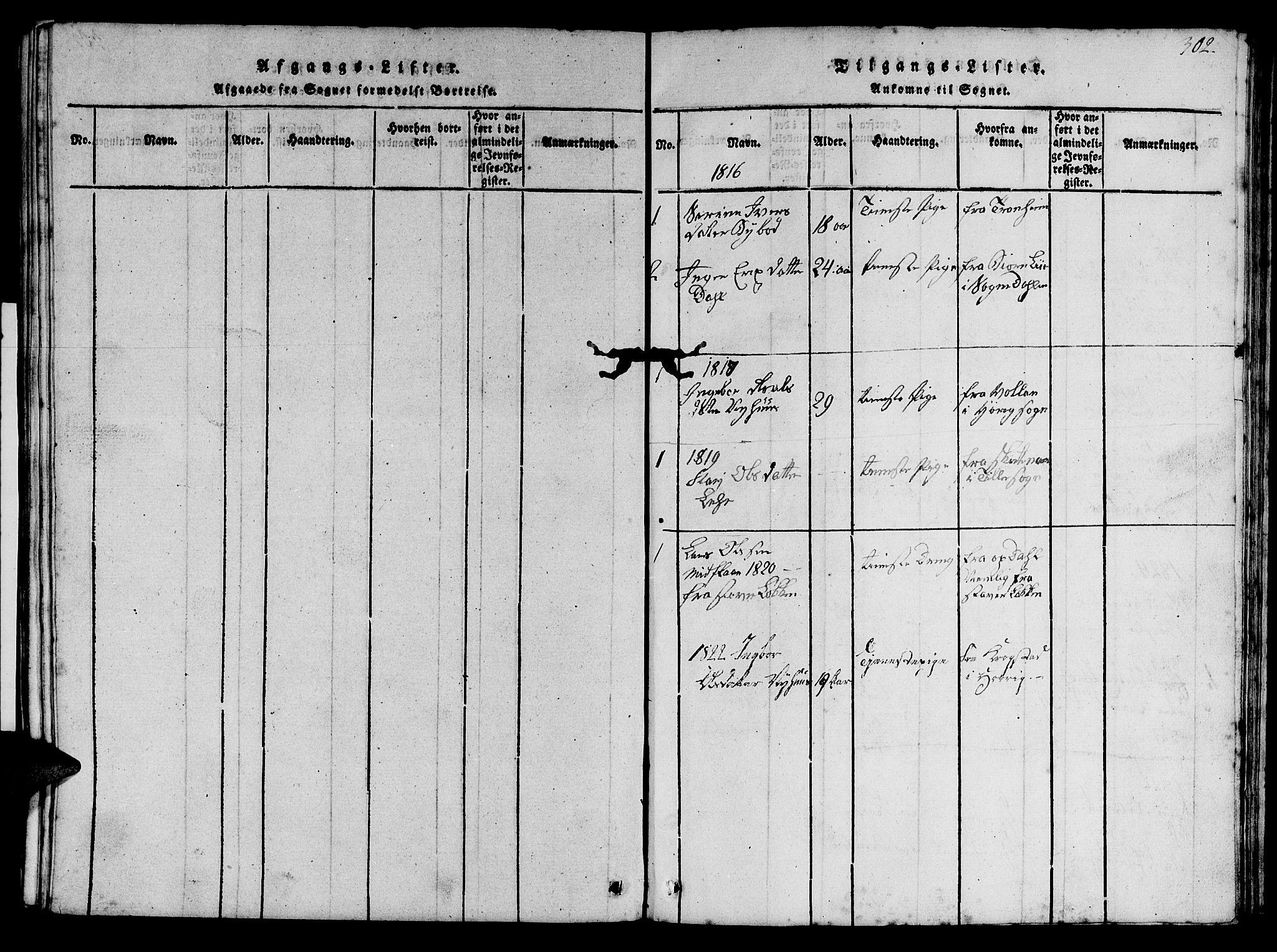 SAT, Ministerialprotokoller, klokkerbøker og fødselsregistre - Sør-Trøndelag, 693/L1121: Klokkerbok nr. 693C02, 1816-1869, s. 302