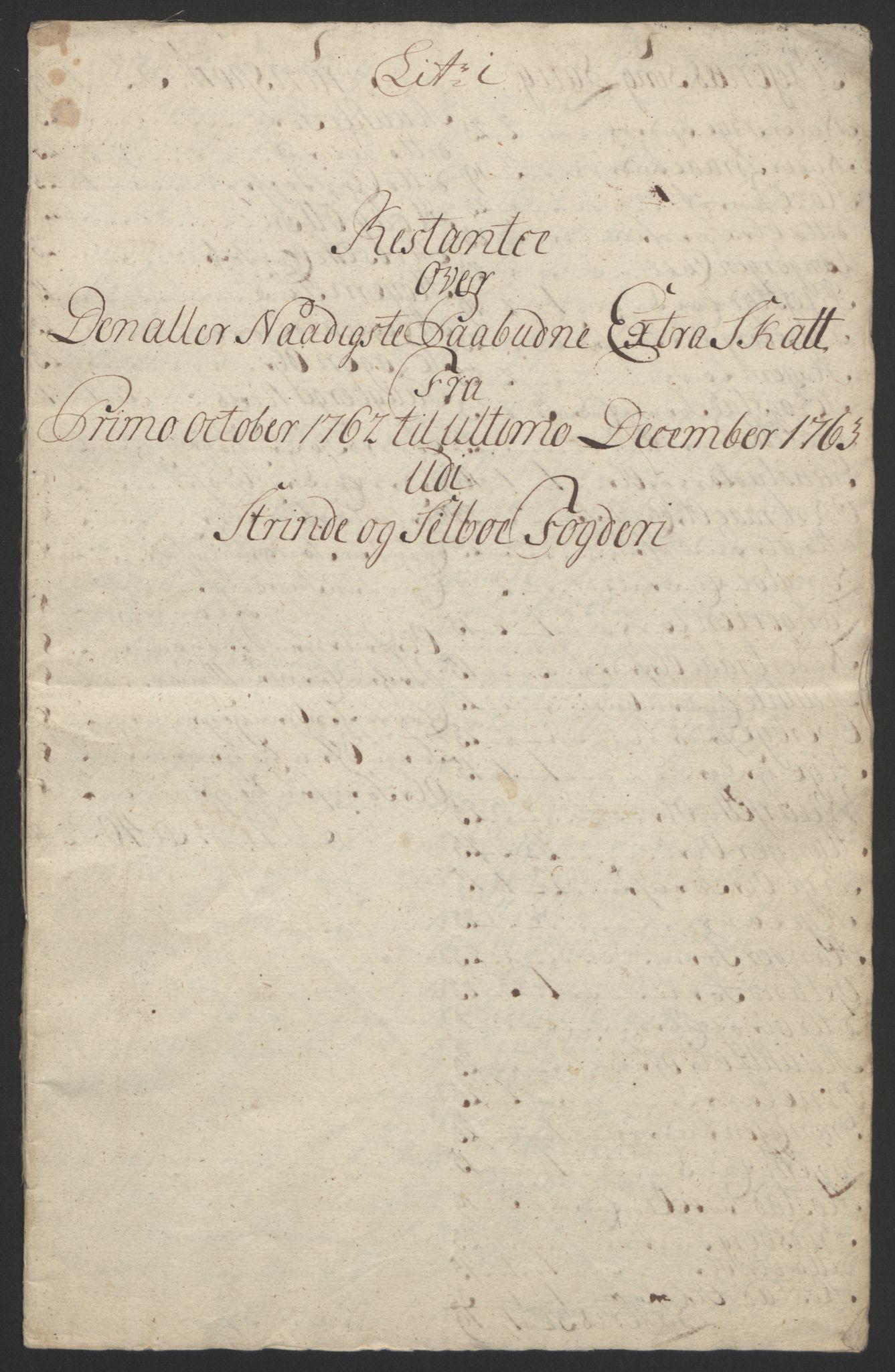 RA, Rentekammeret inntil 1814, Reviderte regnskaper, Fogderegnskap, R61/L4180: Ekstraskatten Strinda og Selbu, 1762-1767, s. 33