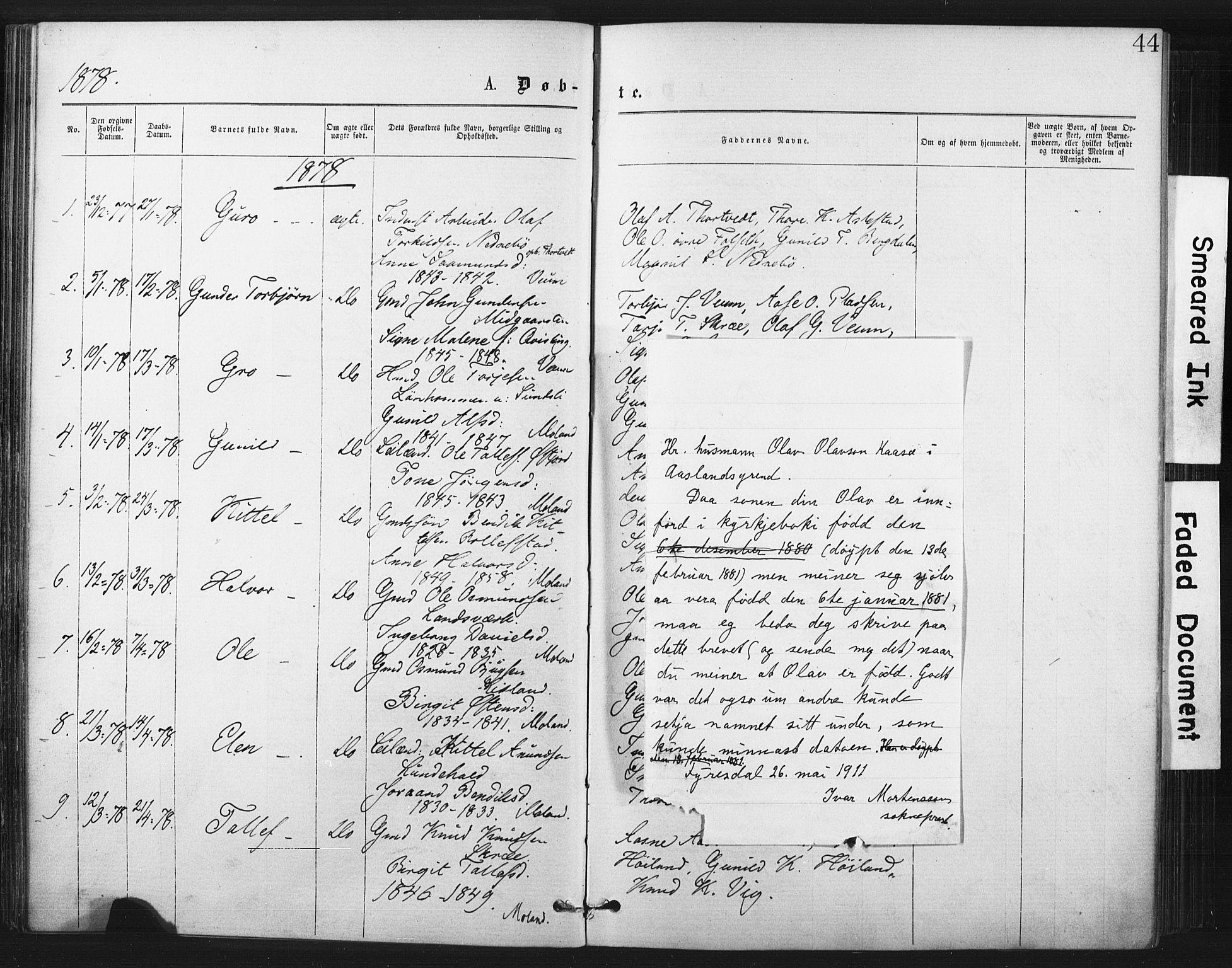 SAKO, Fyresdal kirkebøker, F/Fa/L0006: Ministerialbok nr. I 6, 1872-1886, s. 44
