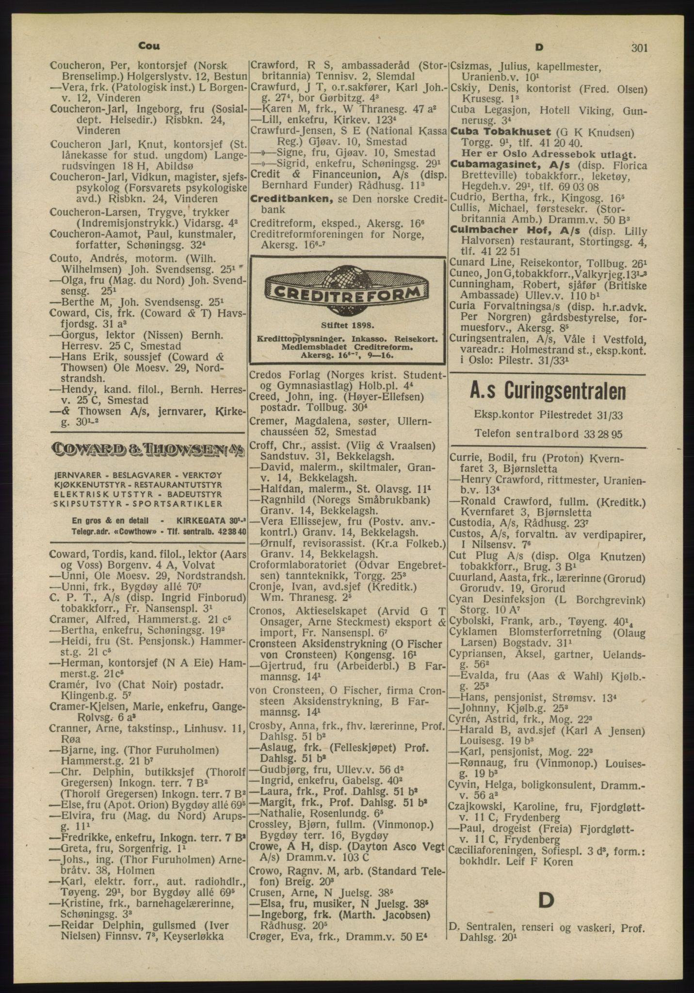 RA, Oslo adressebok (publikasjon)*, 1955, s. 301