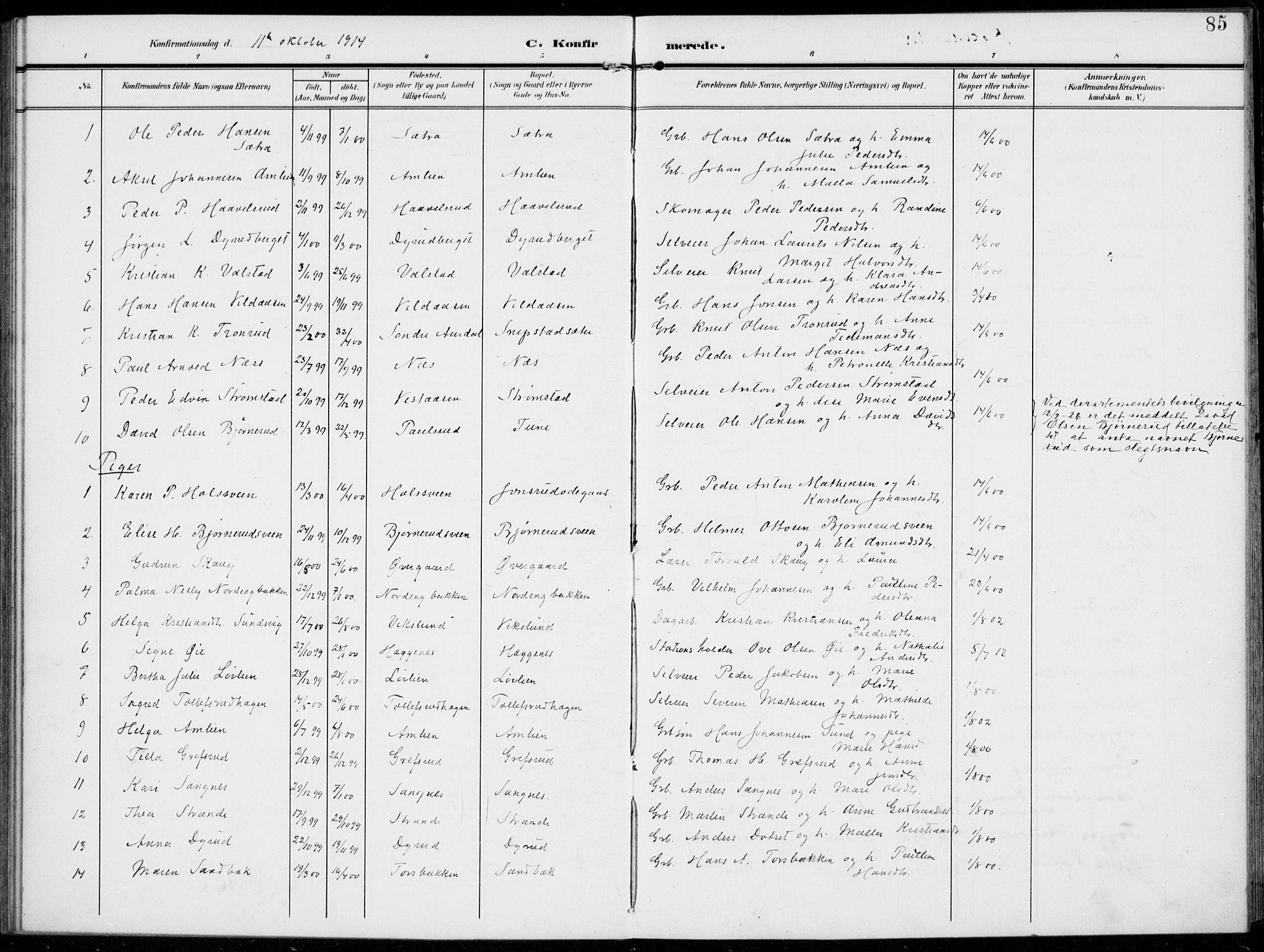 SAH, Kolbu prestekontor, Ministerialbok nr. 1, 1907-1923, s. 85
