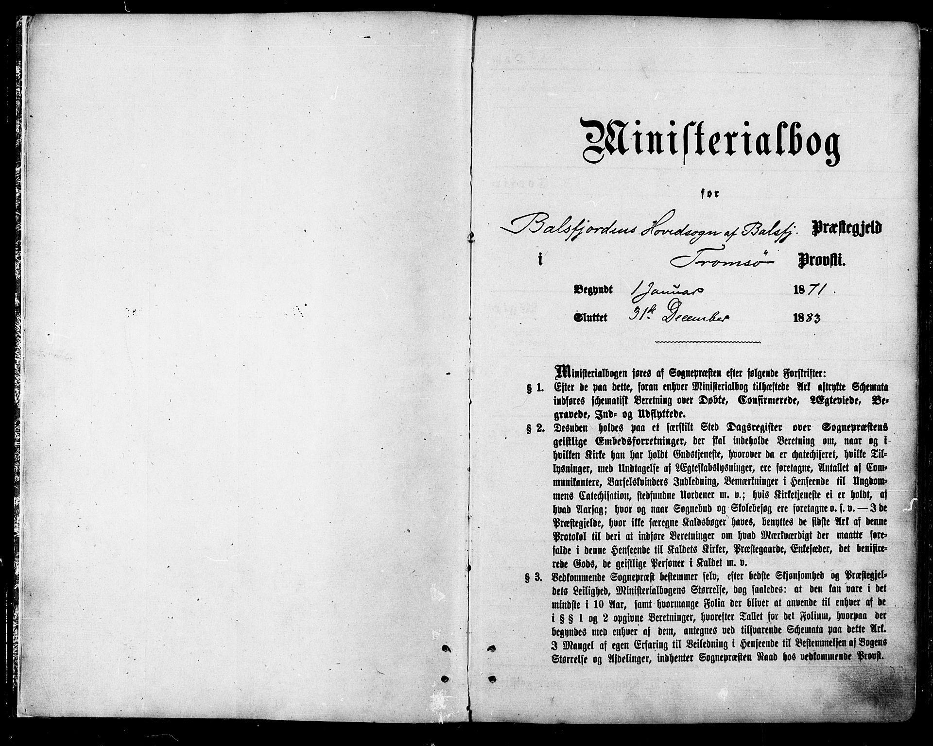 SATØ, Balsfjord sokneprestembete, Ministerialbok nr. 4, 1871-1883