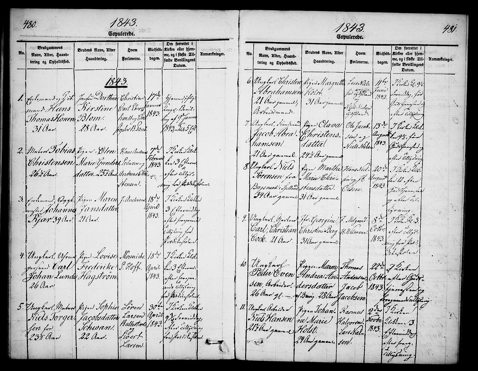 SAKO, Skien kirkebøker, G/Ga/L0003: Klokkerbok nr. 3, 1843-1847, s. 480-481