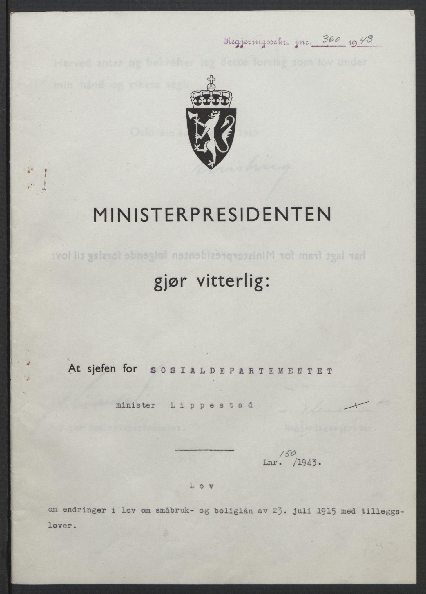 RA, NS-administrasjonen 1940-1945 (Statsrådsekretariatet, de kommisariske statsråder mm), D/Db/L0099: Lover, 1943, s. 701
