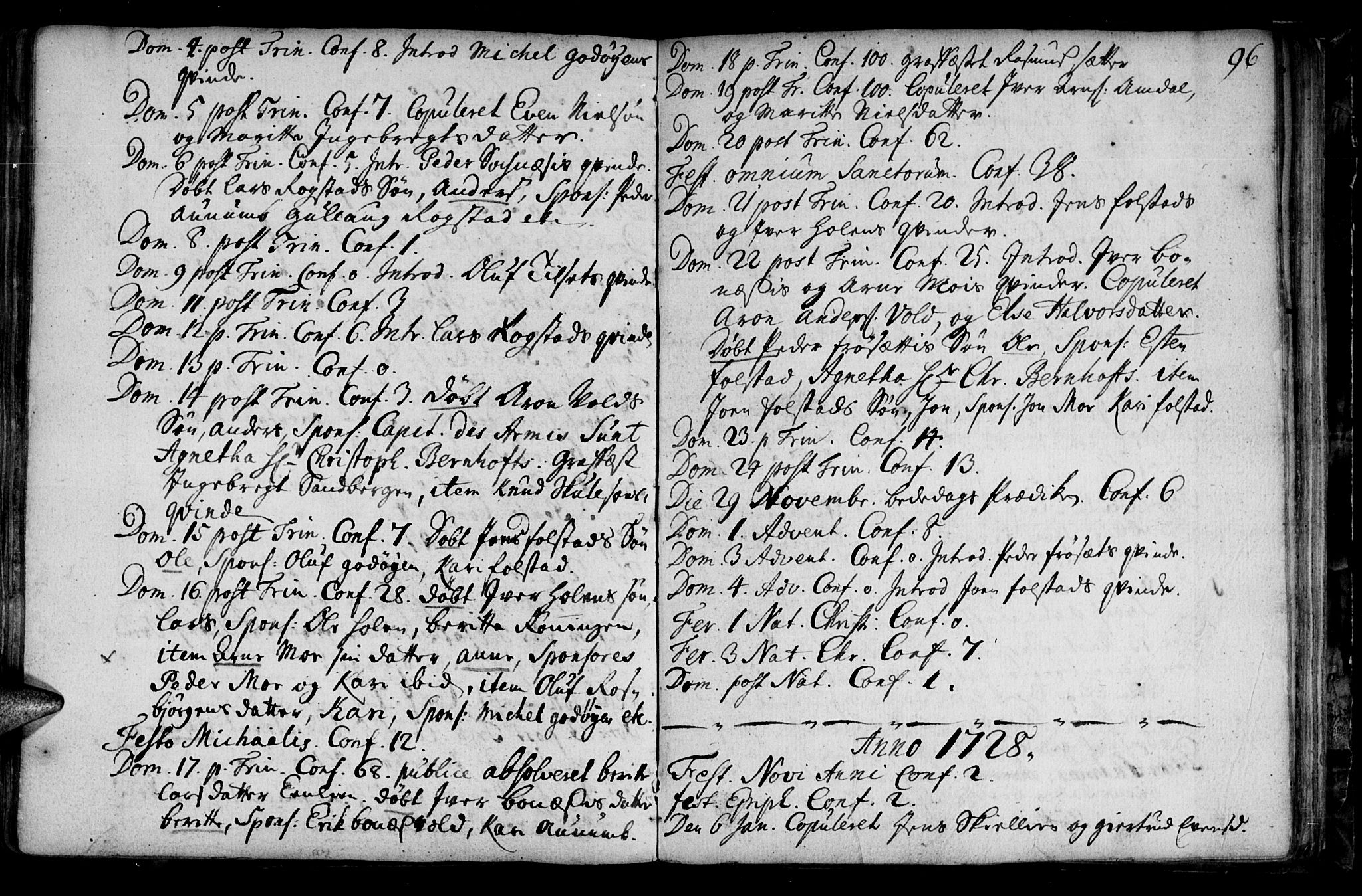 SAT, Ministerialprotokoller, klokkerbøker og fødselsregistre - Sør-Trøndelag, 687/L0990: Ministerialbok nr. 687A01, 1690-1746, s. 96
