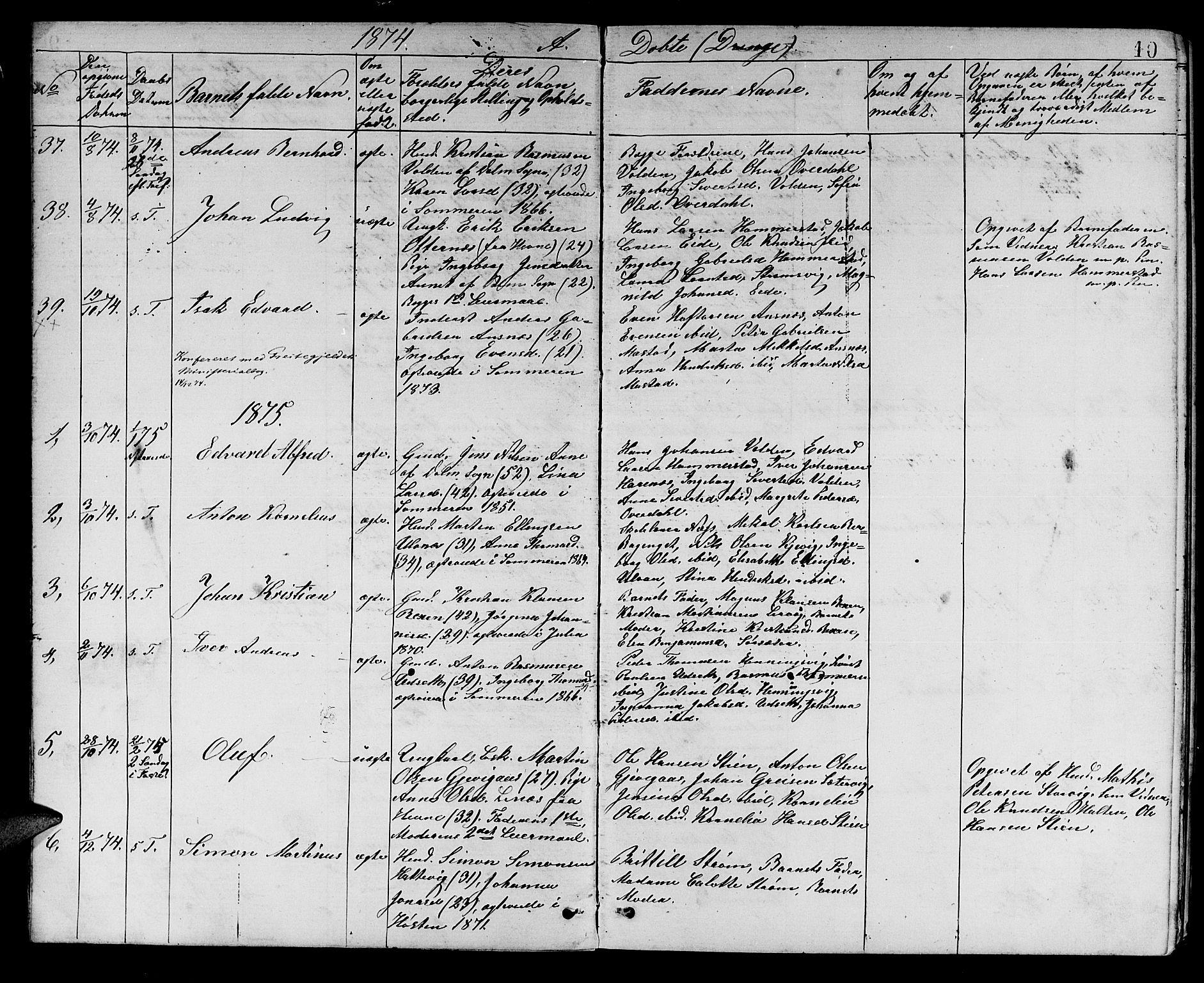 SAT, Ministerialprotokoller, klokkerbøker og fødselsregistre - Sør-Trøndelag, 637/L0561: Klokkerbok nr. 637C02, 1873-1882, s. 10