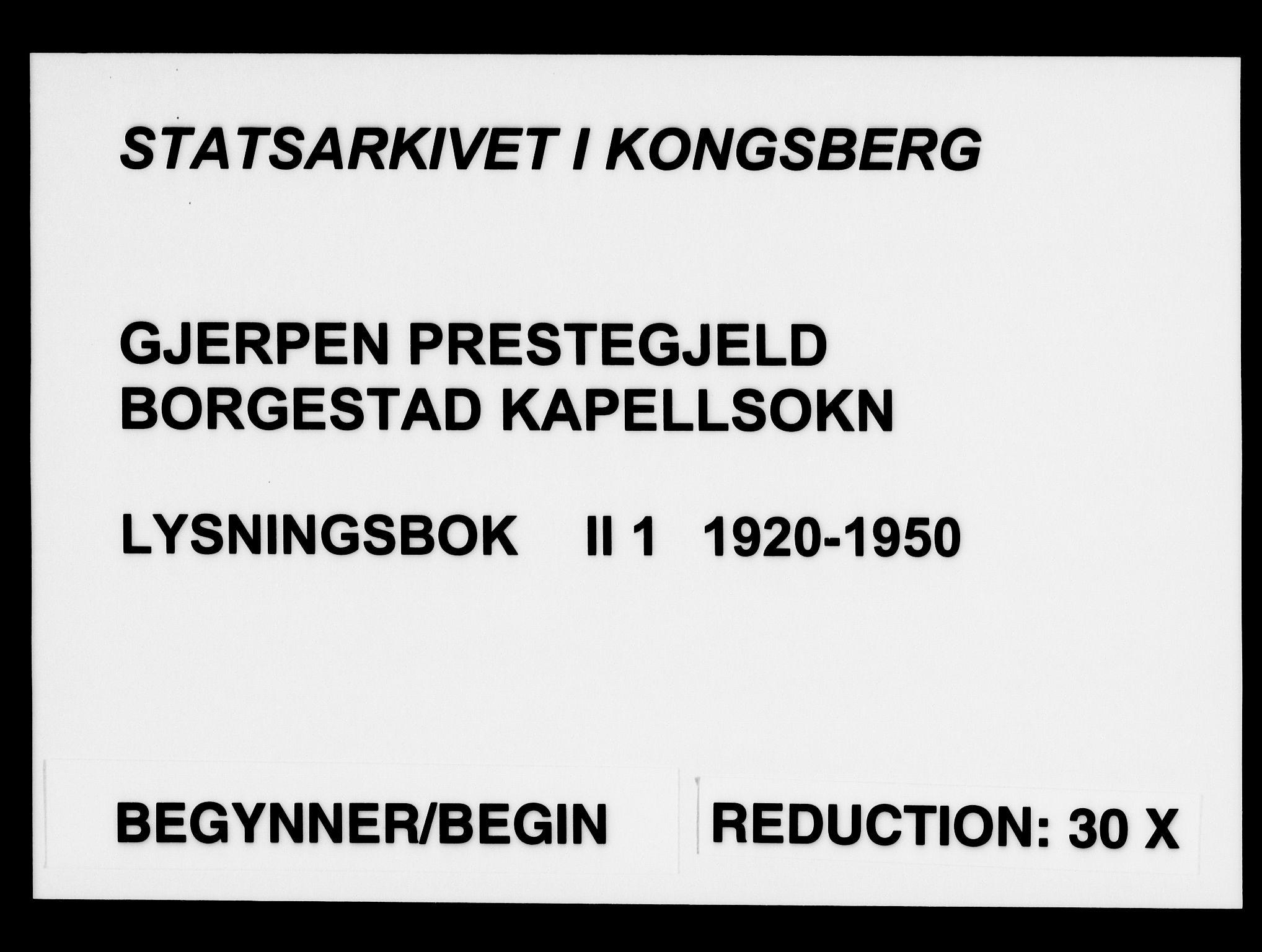 SAKO, Gjerpen kirkebøker, H/Hb/L0001: Lysningsprotokoll nr. II 1, 1920-1950