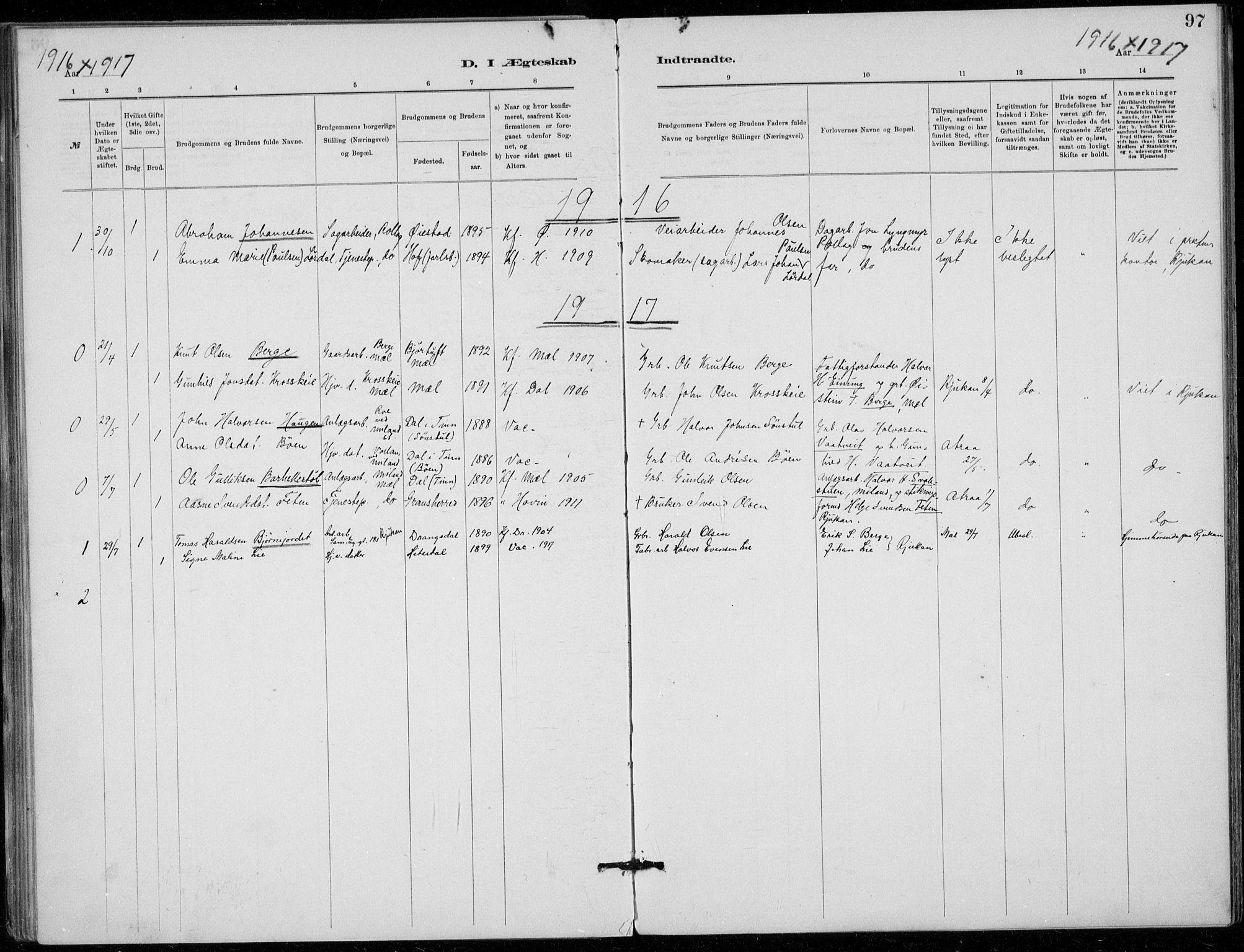 SAKO, Tinn kirkebøker, F/Fb/L0002: Ministerialbok nr. II 2, 1878-1917, s. 97