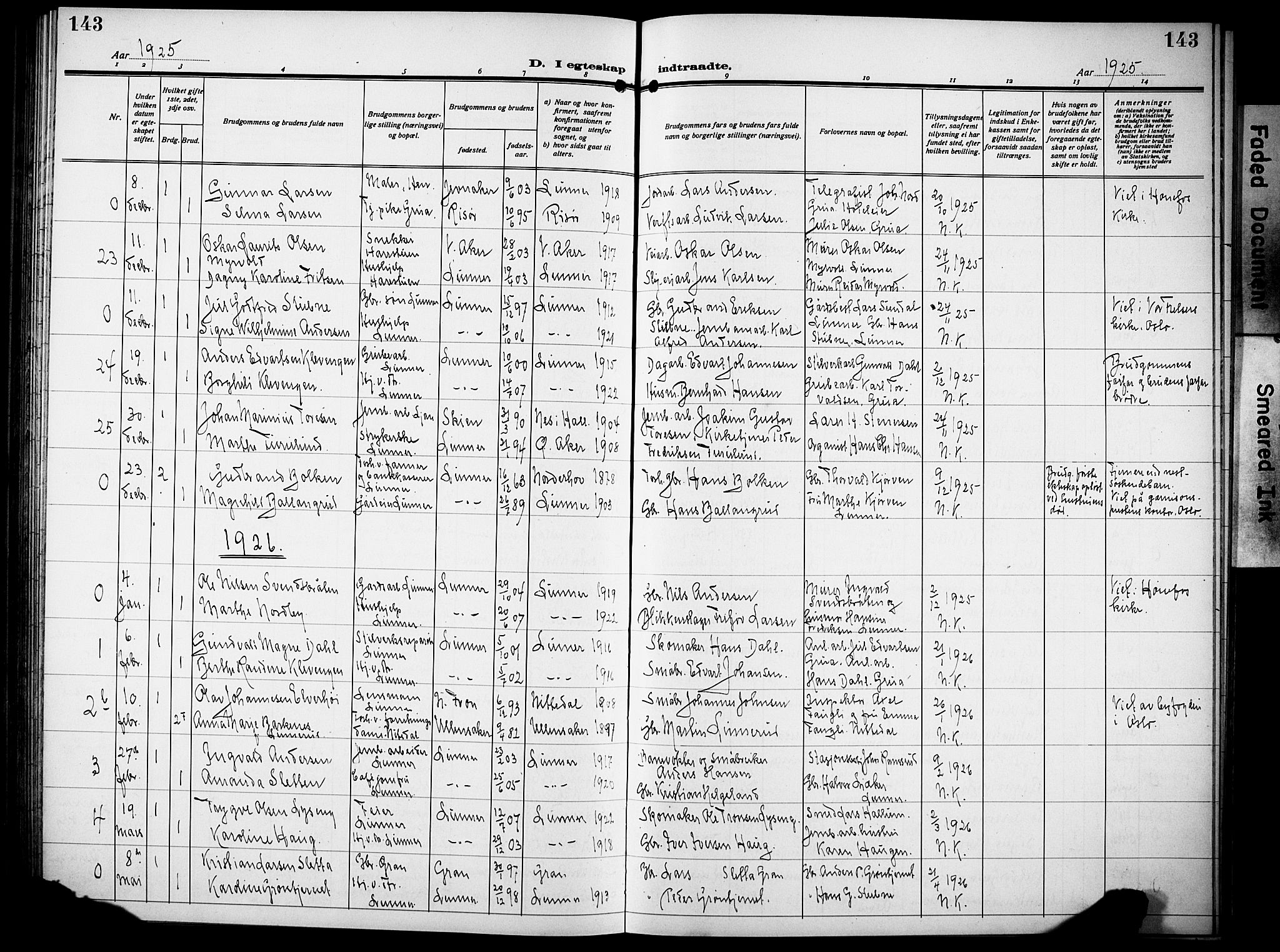 SAH, Lunner prestekontor, H/Ha/Hab/L0002: Klokkerbok nr. 2, 1923-1933, s. 143