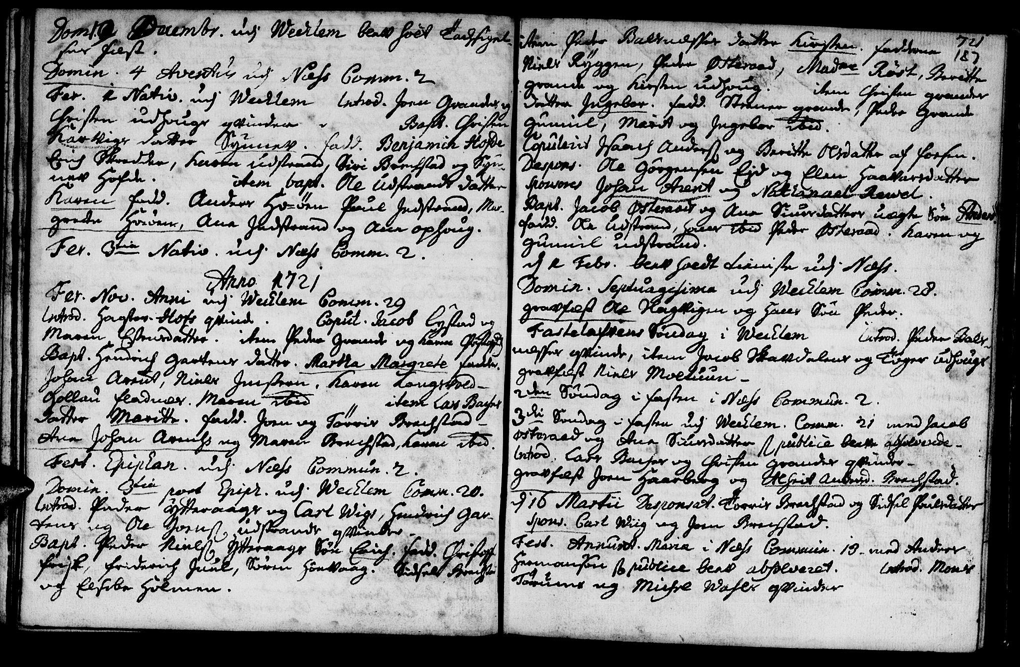 SAT, Ministerialprotokoller, klokkerbøker og fødselsregistre - Sør-Trøndelag, 659/L0731: Ministerialbok nr. 659A01, 1709-1731, s. 186-187