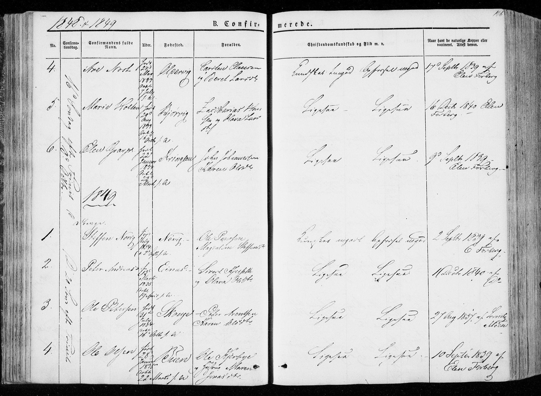 SAT, Ministerialprotokoller, klokkerbøker og fødselsregistre - Nord-Trøndelag, 722/L0218: Ministerialbok nr. 722A05, 1843-1868, s. 106