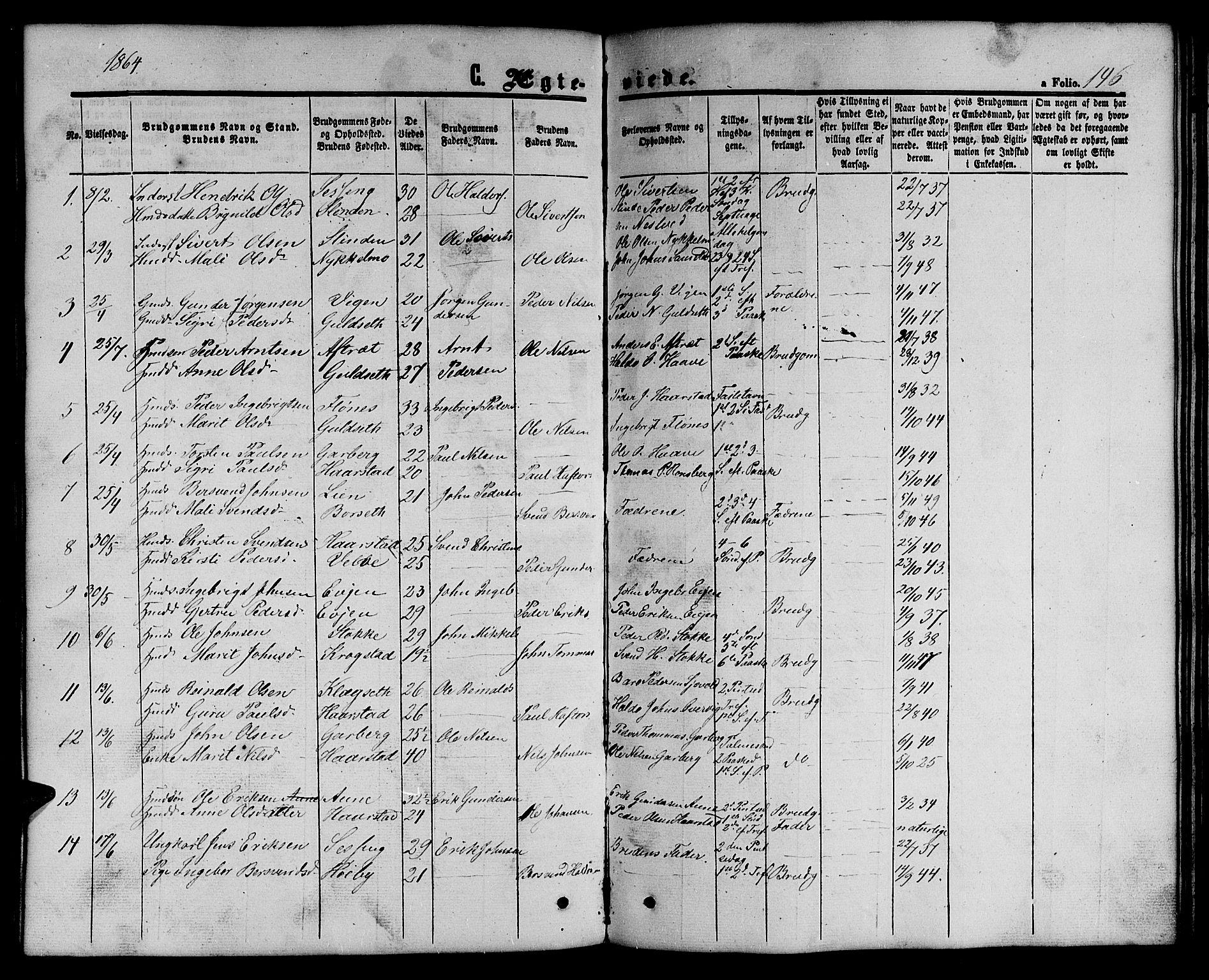 SAT, Ministerialprotokoller, klokkerbøker og fødselsregistre - Sør-Trøndelag, 695/L1155: Klokkerbok nr. 695C06, 1859-1868, s. 146